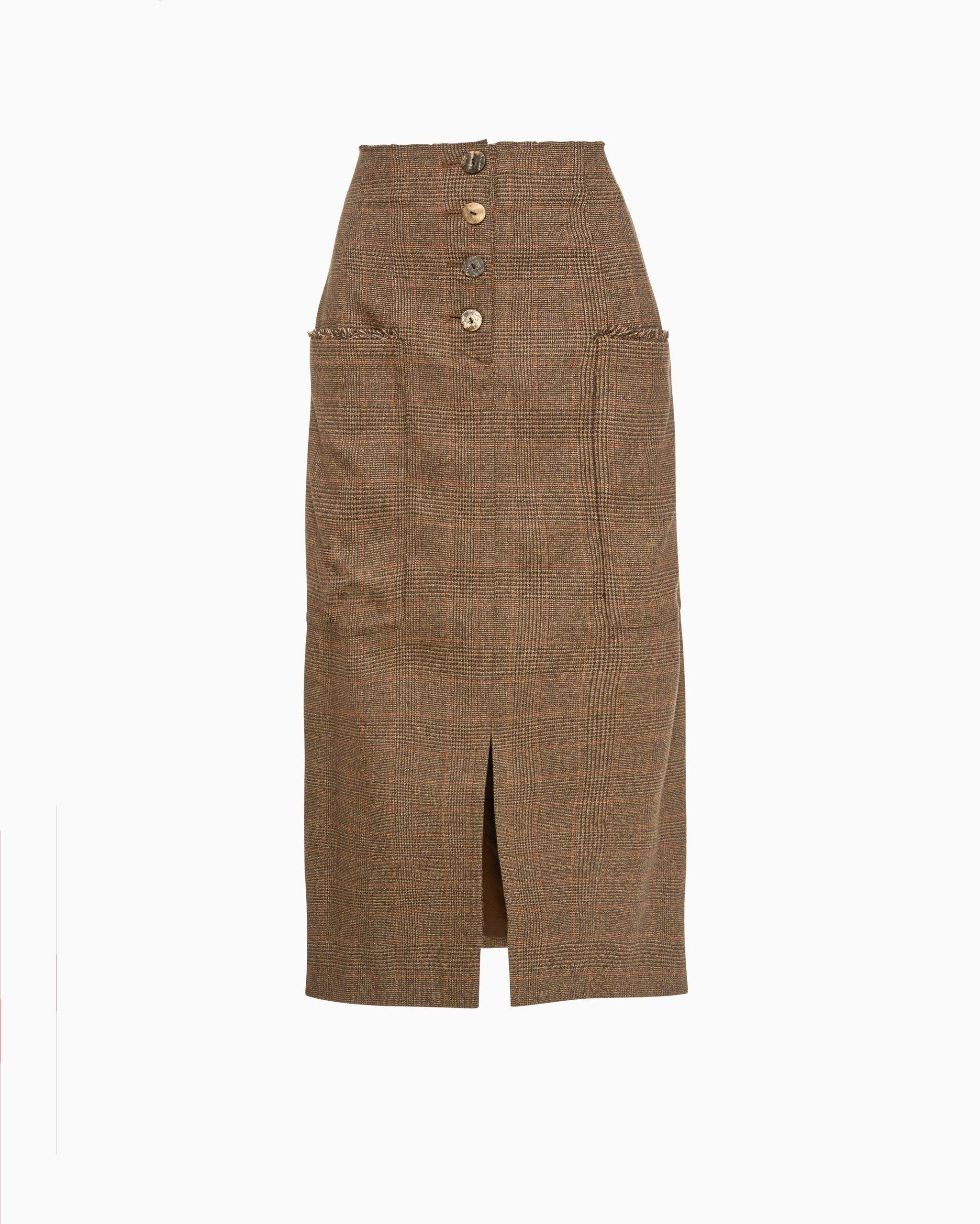 Carmen Skirt Brown Check Suiting - SPECIAL PRICE 1
