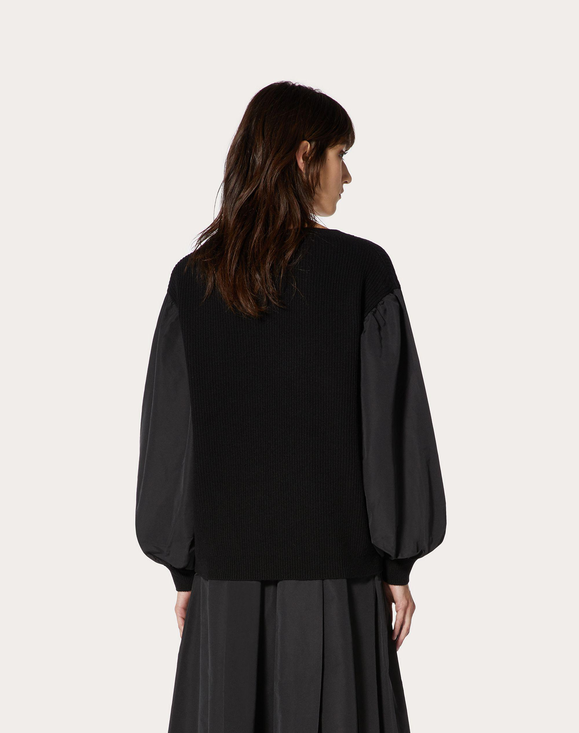 Cashmere Wool and Micro-Faille Sweater 2
