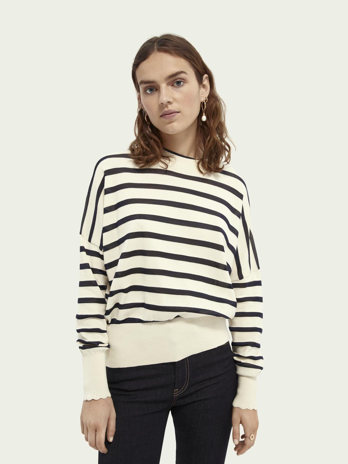 Knitted cotton-blend sweater