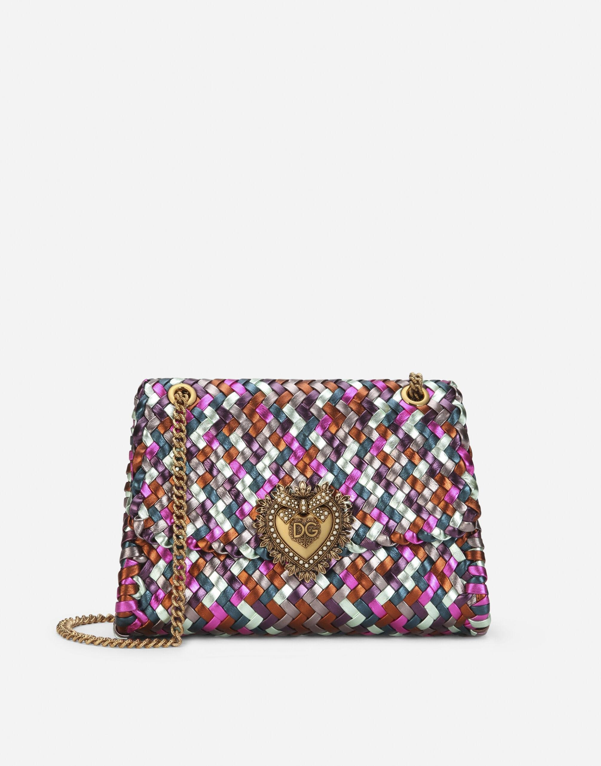 Large Devotion shoulder bag in multi-colored foiled woven nappa leather