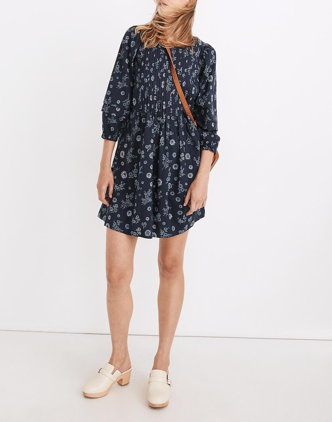 Pintuck Puff-Sleeve Mini Dress in Cottage Floral