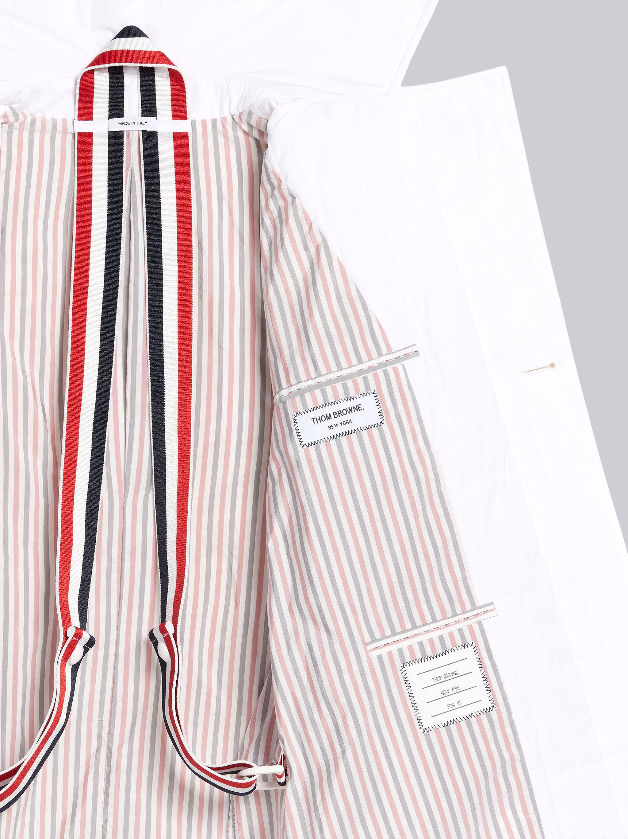 White Down Filled Poly Twill Center Back Stripe Classic Trench Coat 5