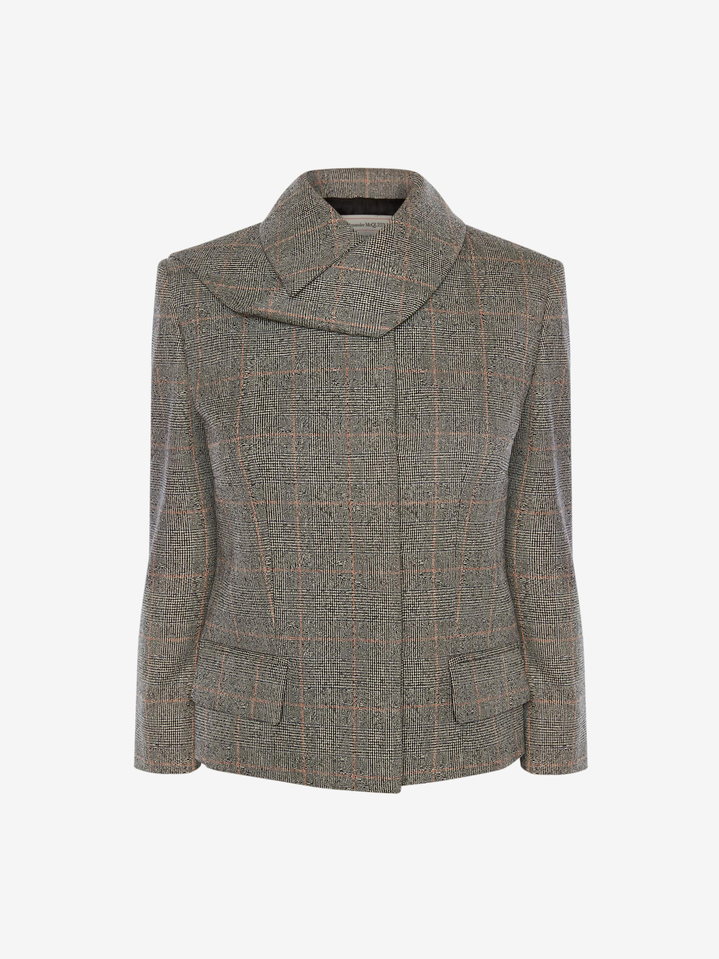 Scarf Neck Distressed Prince of Wales Jacket 3