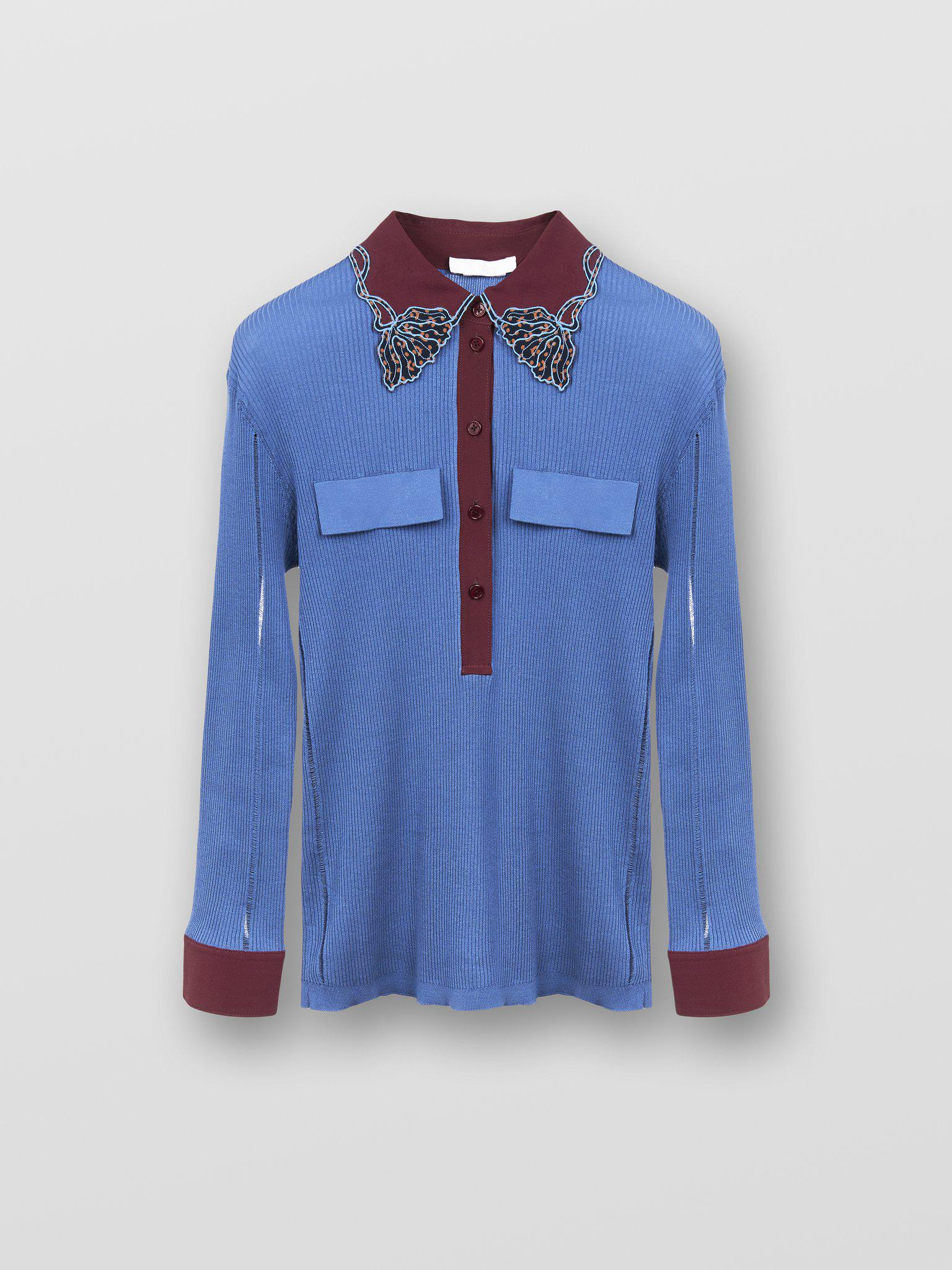 COLLARED KNIT BLOUSE