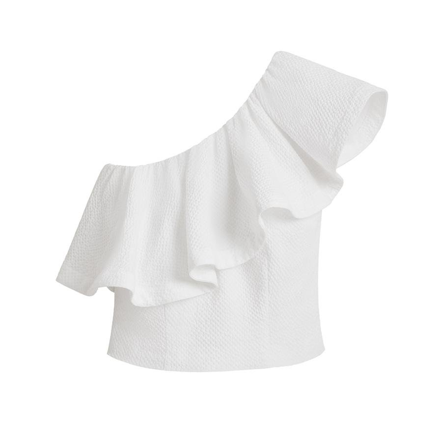 Women's Cropped Flounce Top in White | Size: