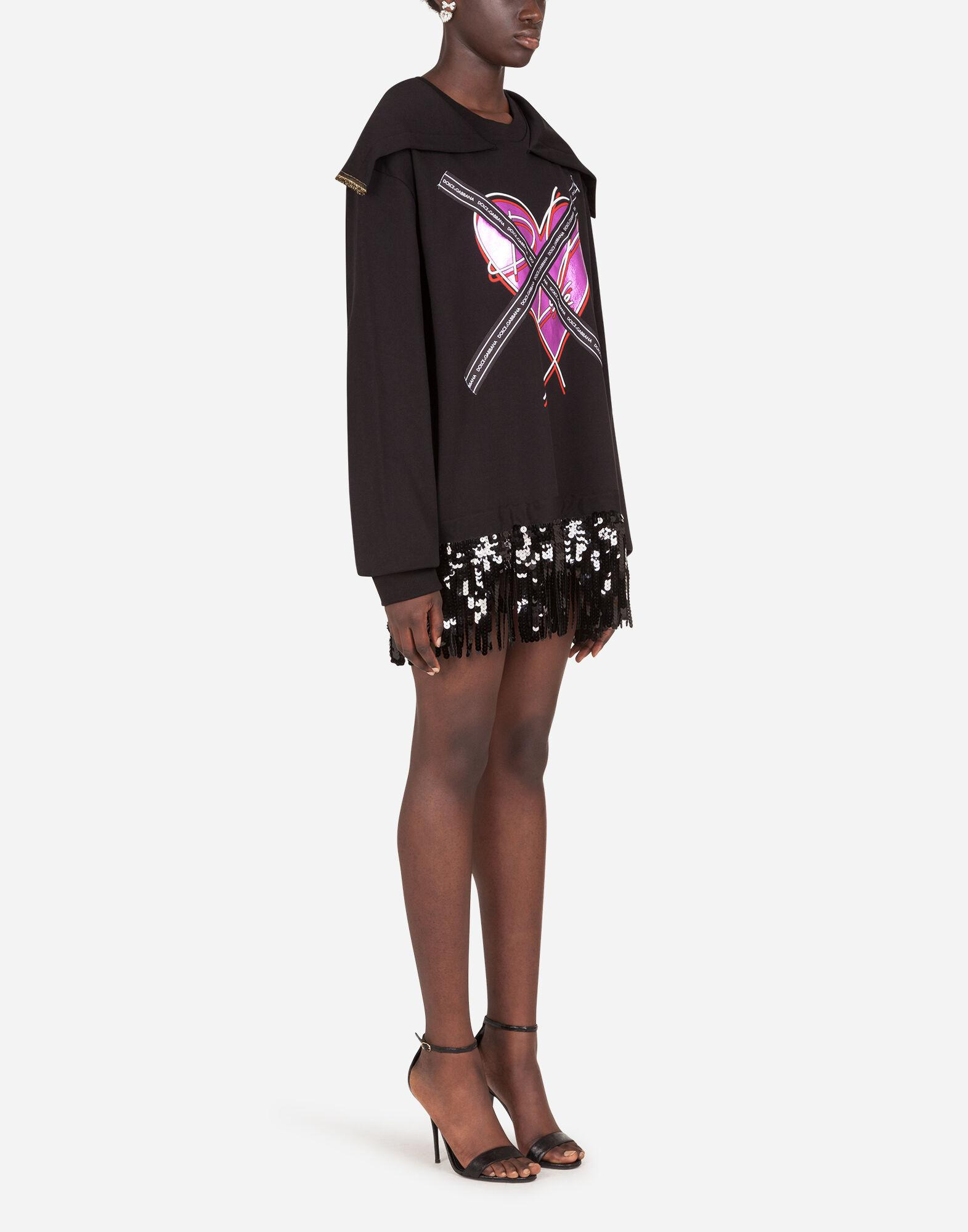 Jersey sweatshirt with heart print and ribbon details 3