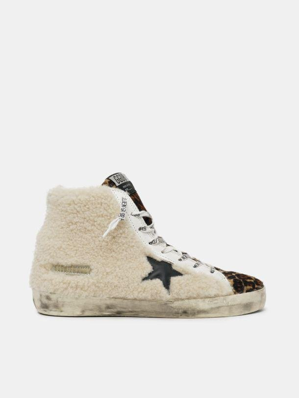 Francy sneakers made of shearling and pony skin with a leopard print