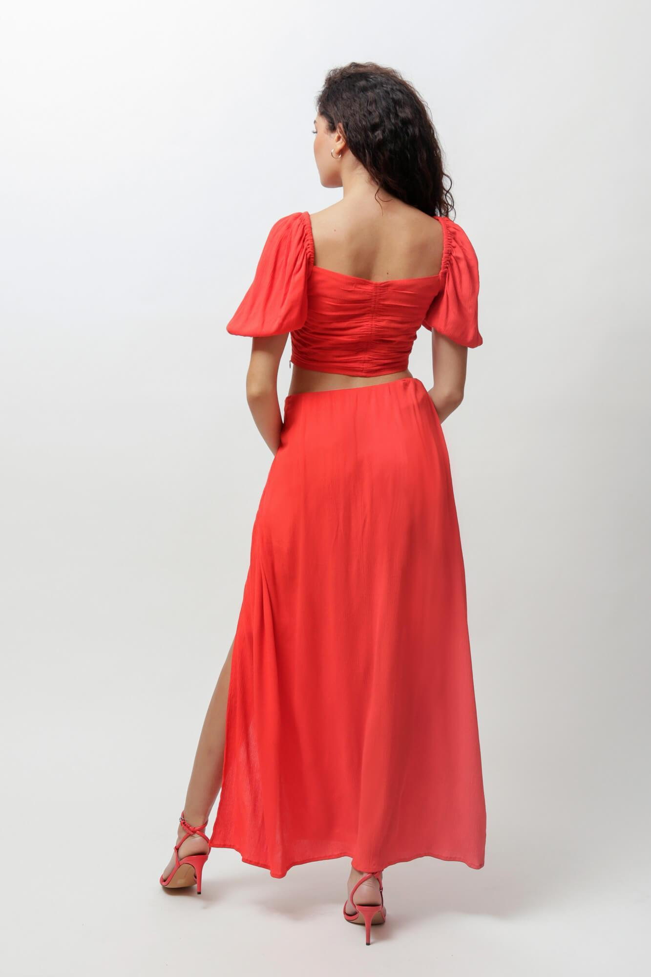 Fiery Red Cindy Crop Top and Skirt Two Piece Set 3
