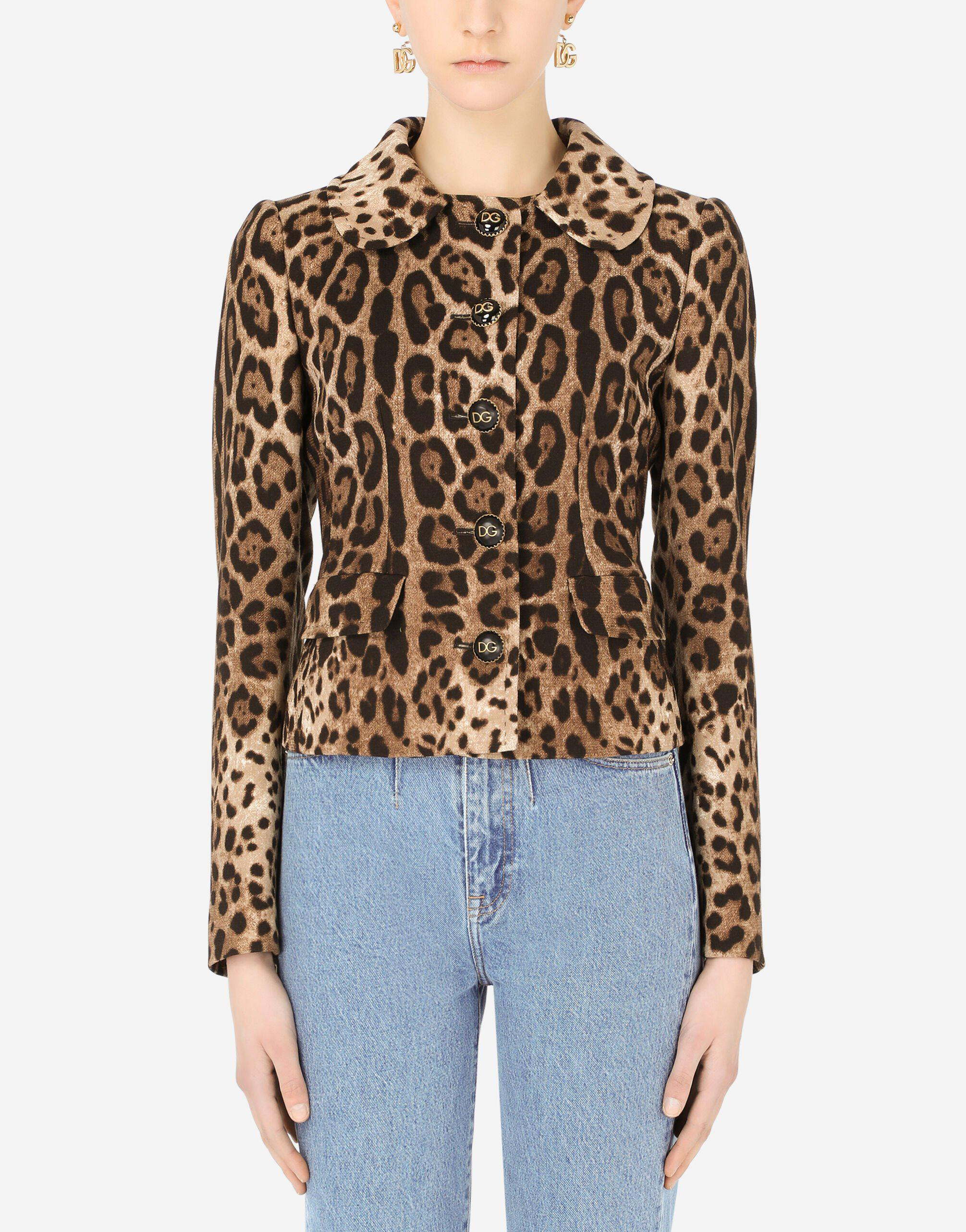 Double crepe Dolce jacket with leopard print and cabochon DG buttons