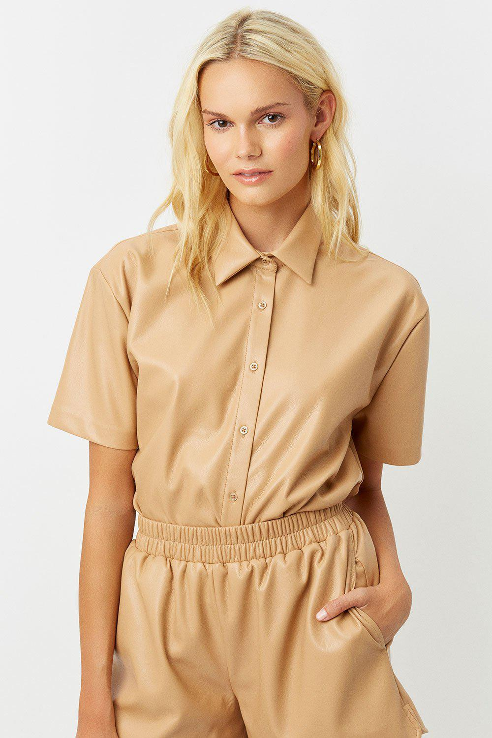 Rusty Vegan Leather Button Up Shirt - Earth