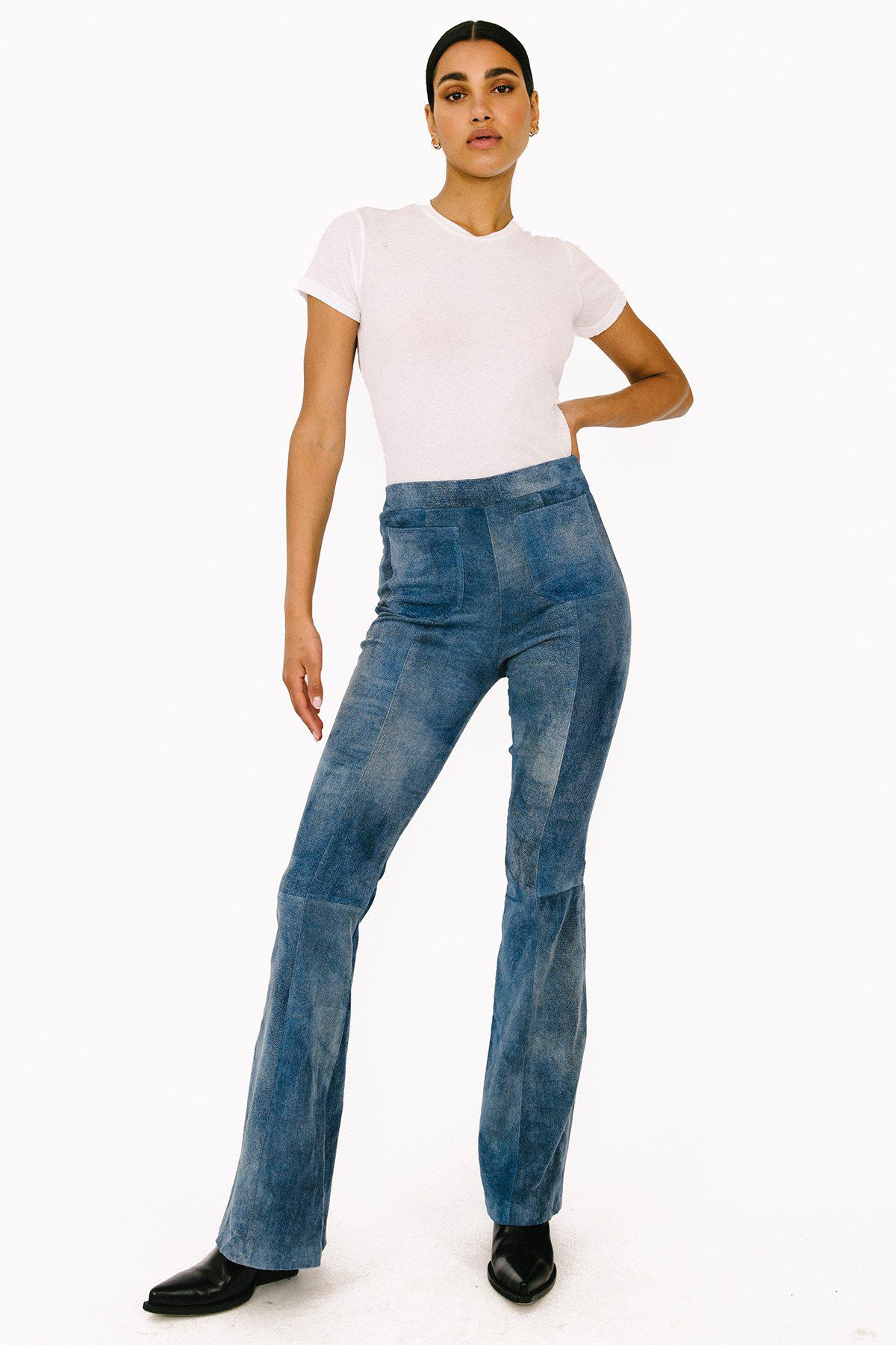 Distressed Blue Suede Patch Pockets Super Flare