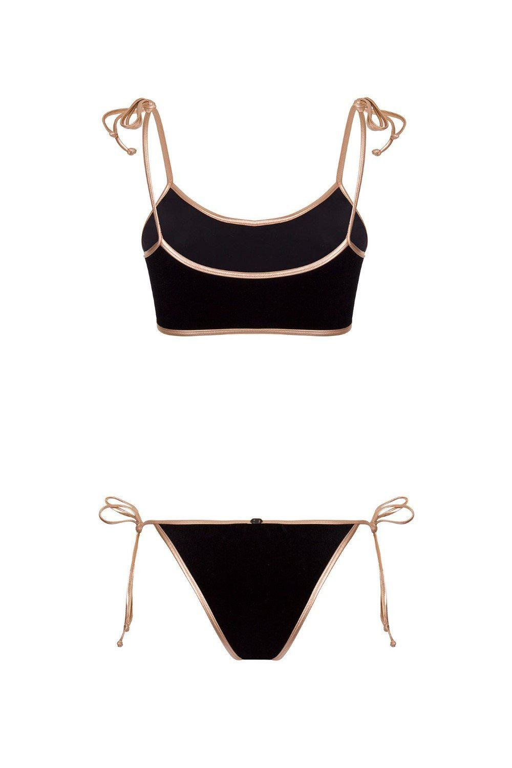 Cavaliere Velvet Bikini with Straps and Gold Detail 2
