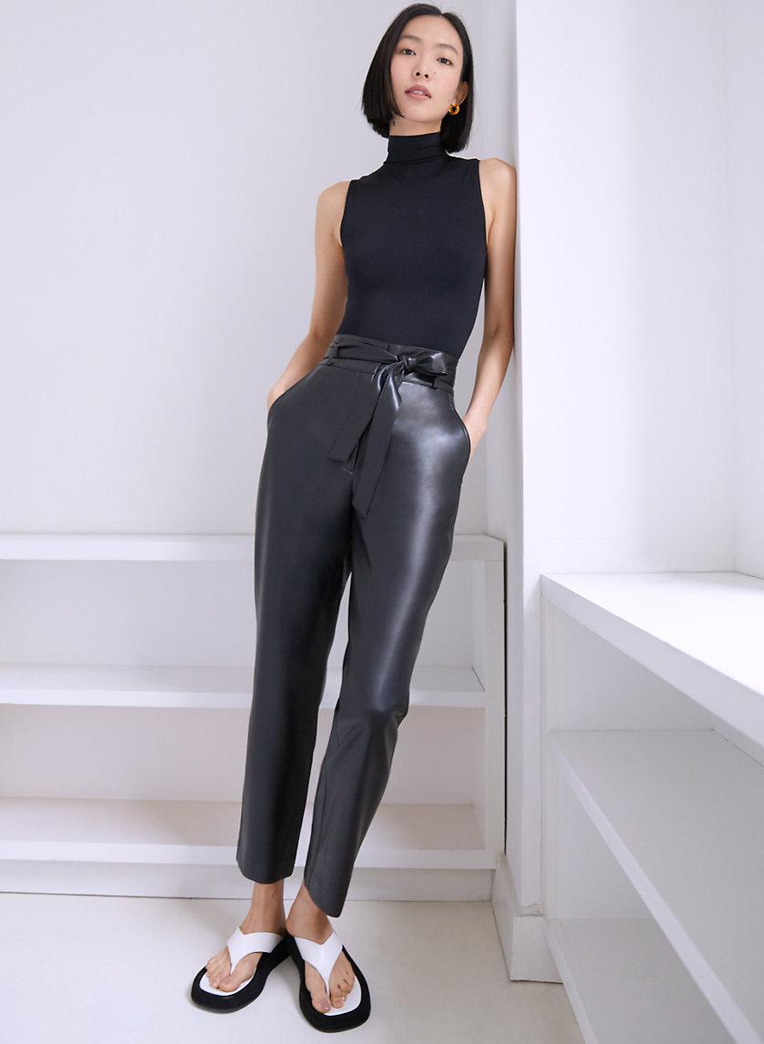 Vegan Leather Belted Pant