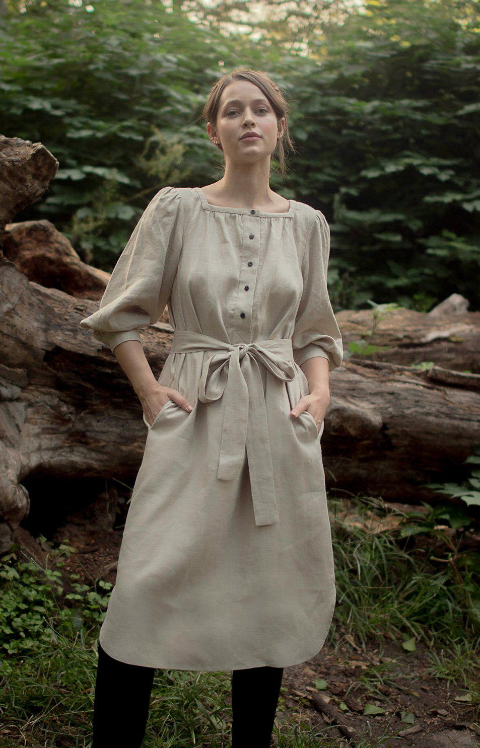 Everly Dress in Wheat Linen
