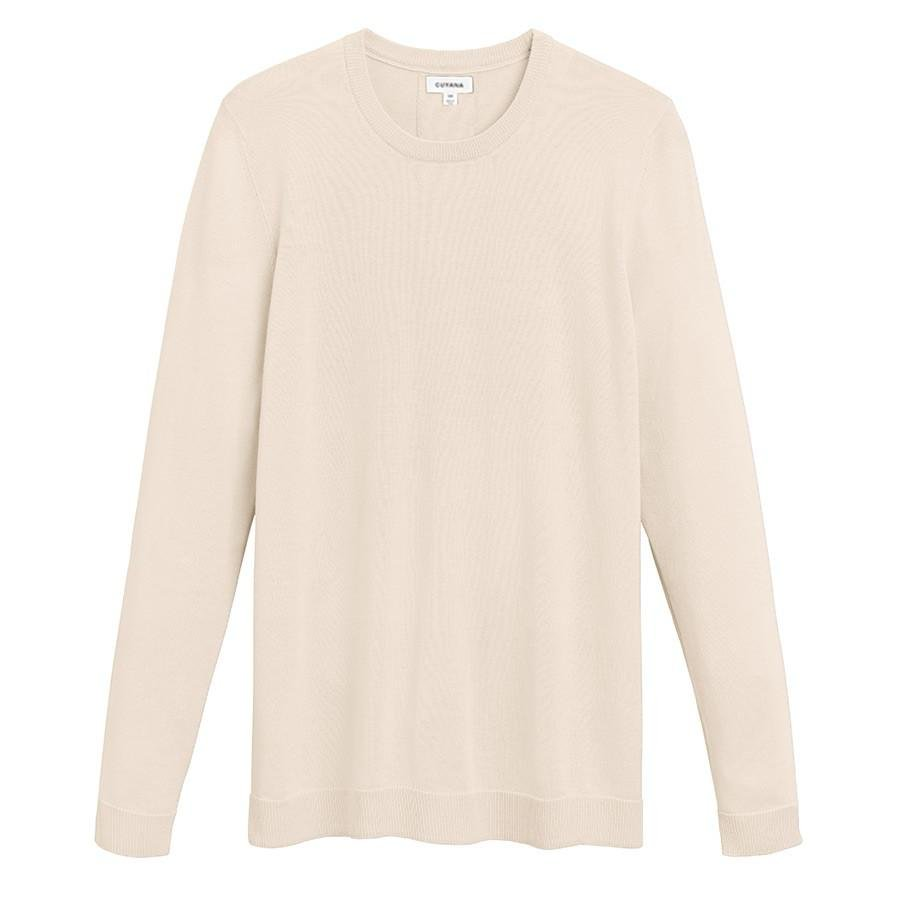Women's Classic Cotton Cashmere Crewneck Sweater in Sand | Size: