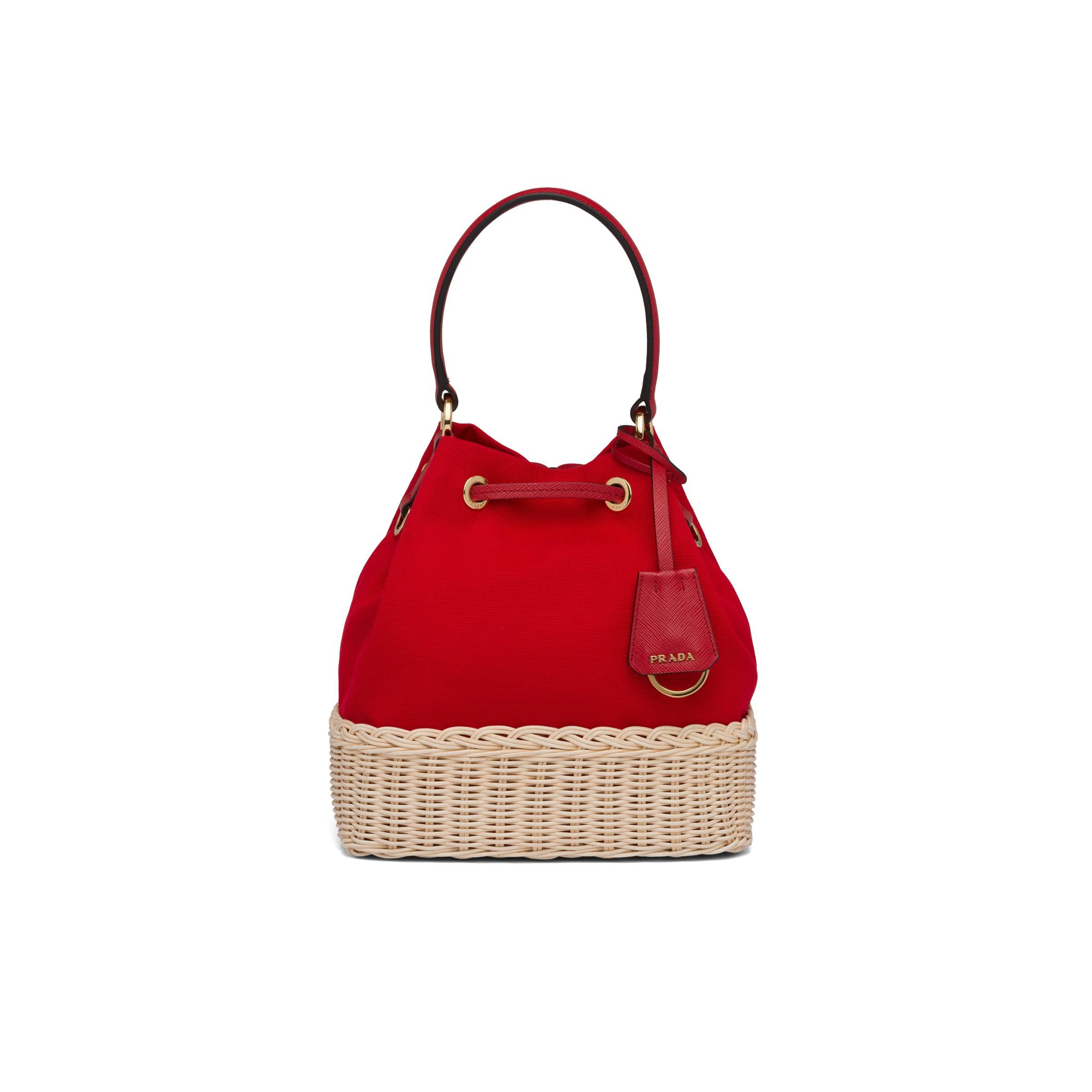 Wicker And Canvas Bucket Bag Women Tan/red 3
