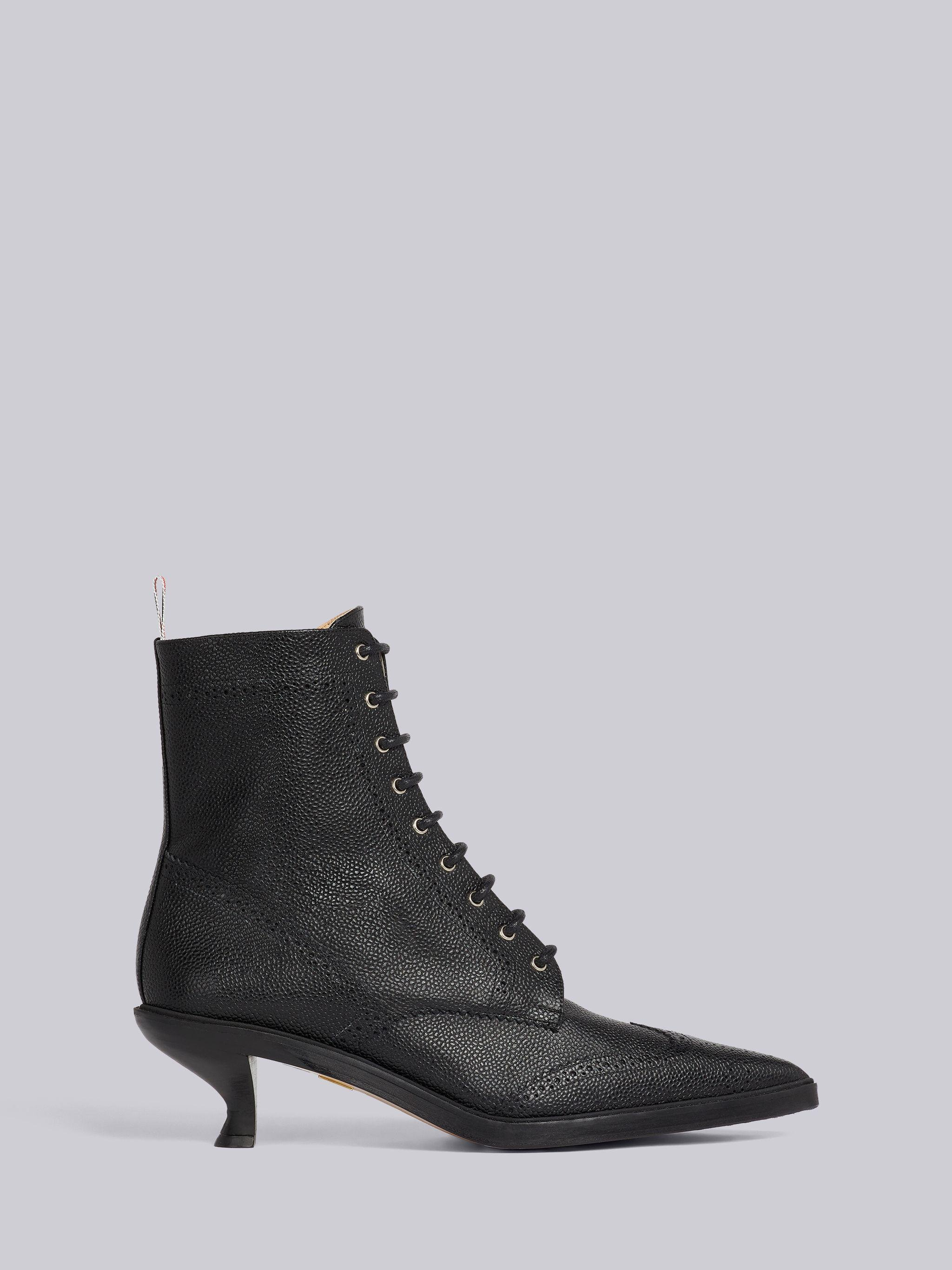 Black Pebble Grain Leather 50mm Curved Heel Lace-Up Wingtip Ankle Bootie