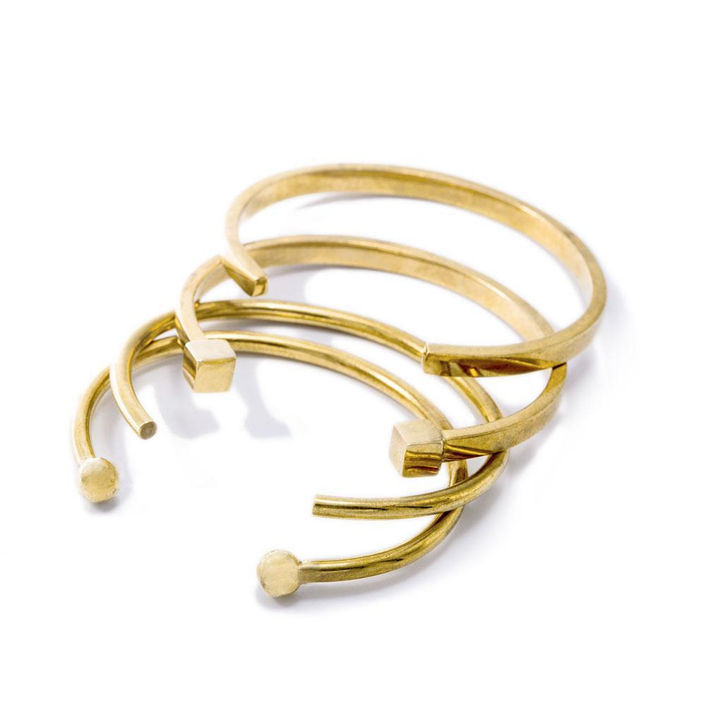 Mixed Shapes Stacking Cuff Bracelets