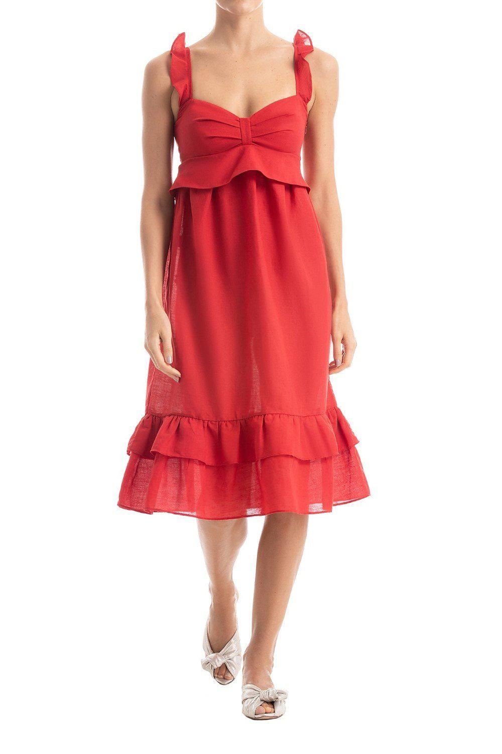 Solid Ruffled Midi Dress With Straps