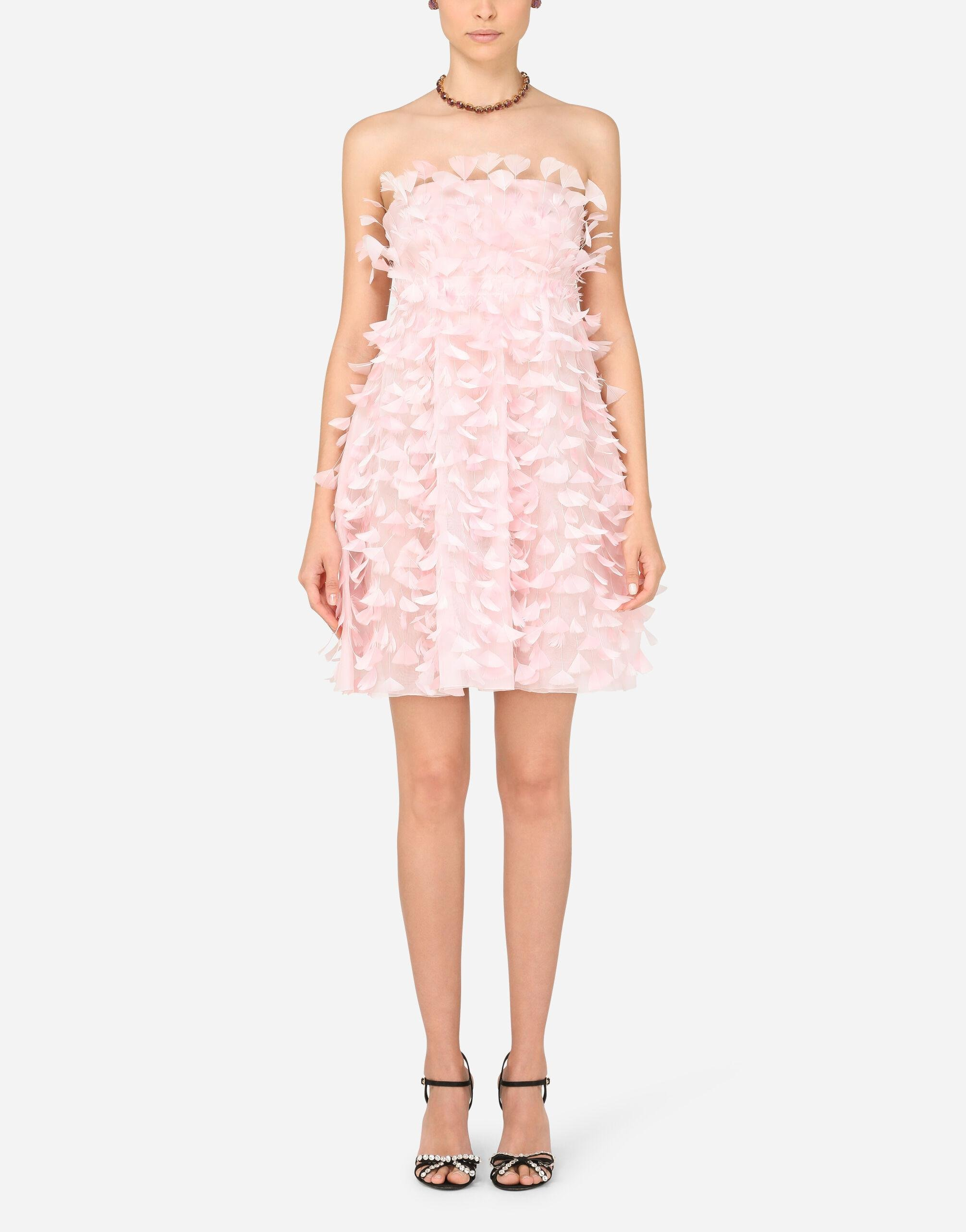 Short organza dress with feather embellishment