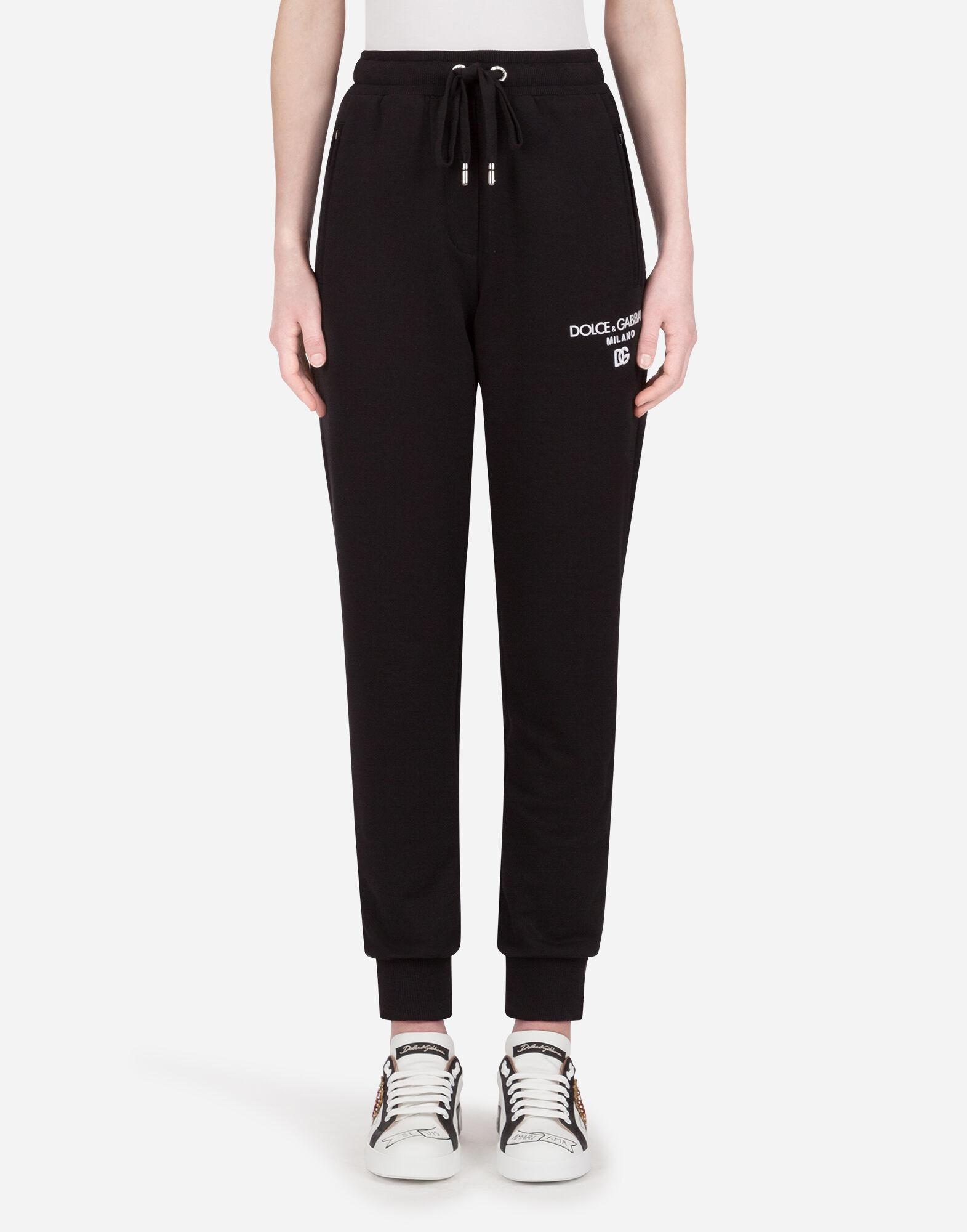 Printed jersey jogging pants with embroidery
