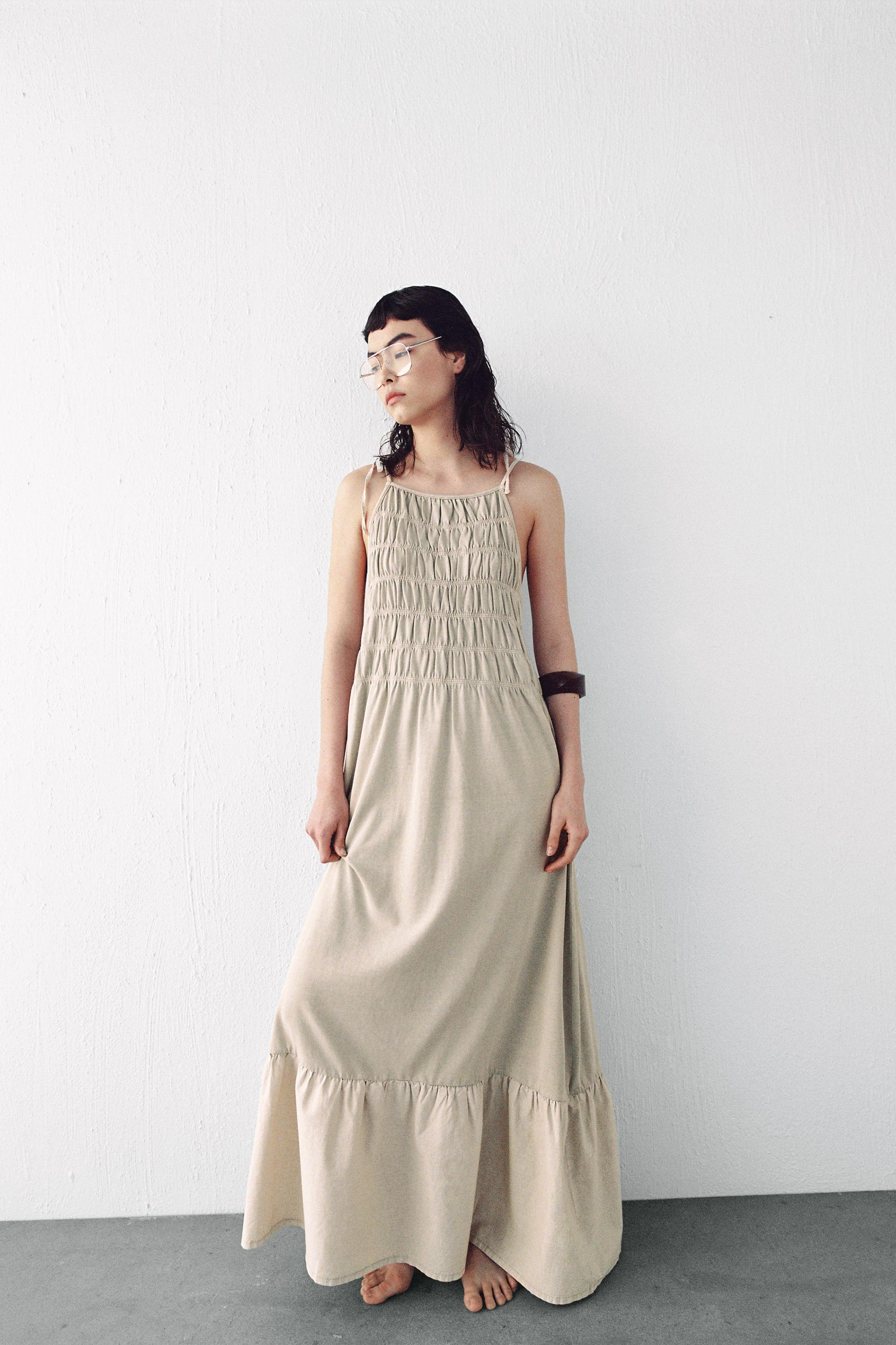 WASHED EFFECT RUCHED DRESS