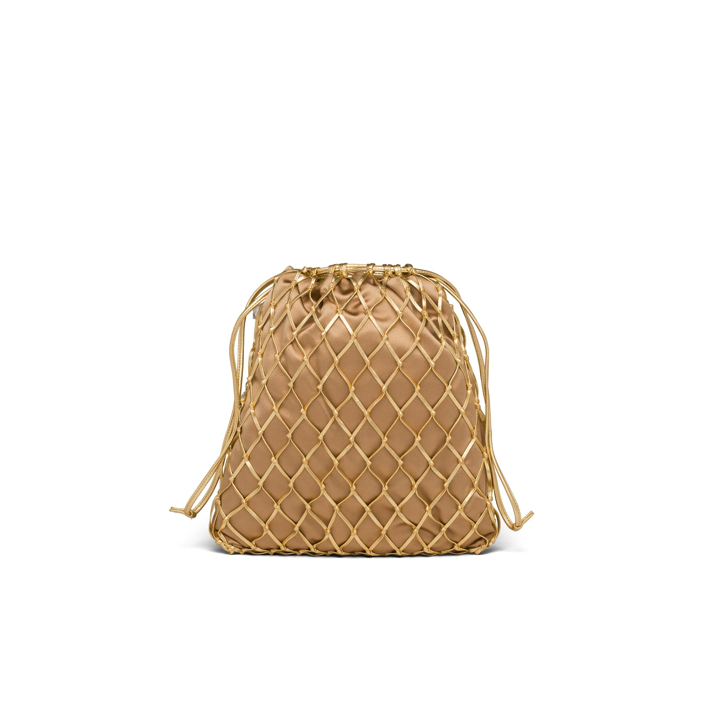 Leather Mesh And Satin Clutch Women Gold 3