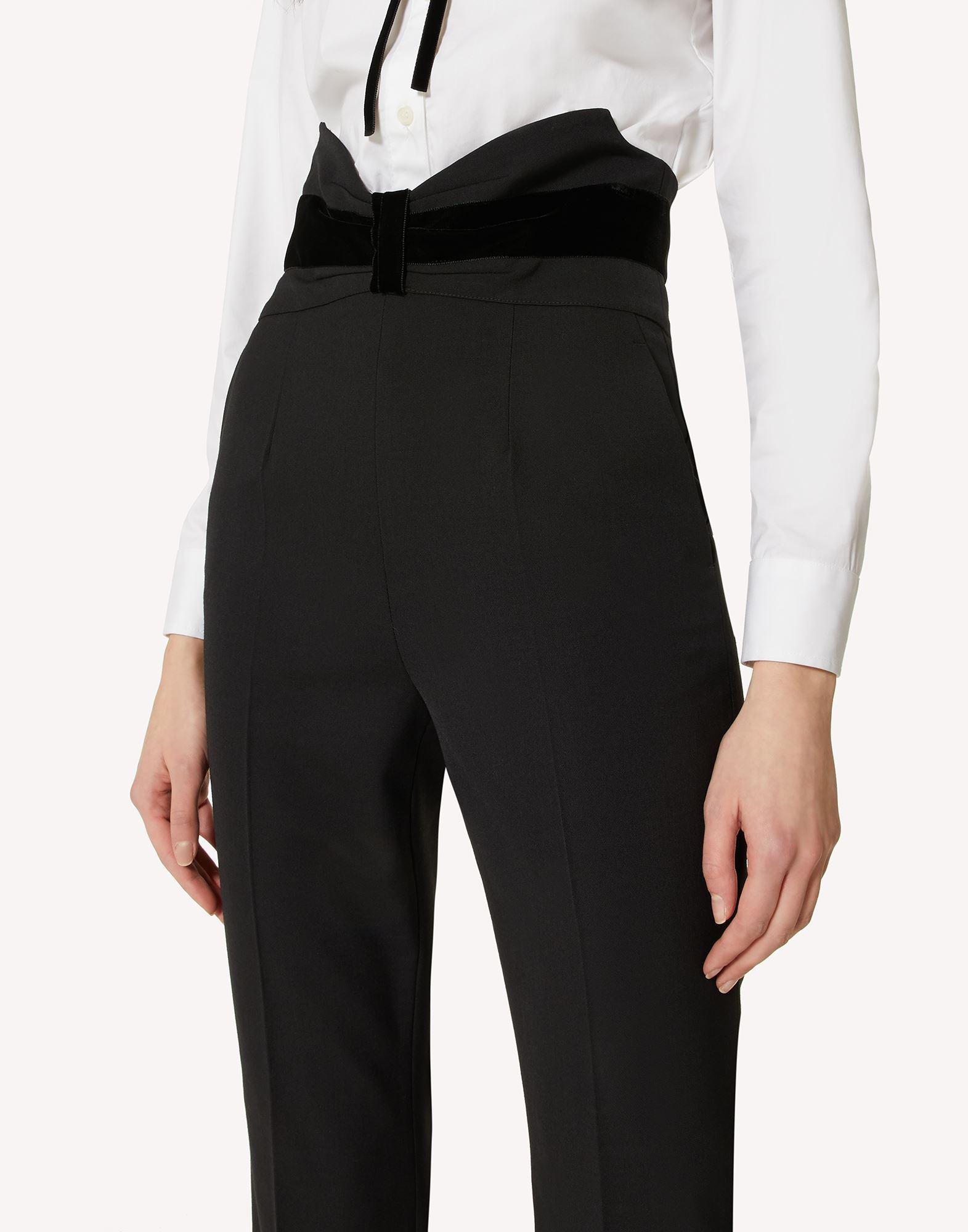 TUXEDO BOW DETAIL WOOL STRETCH REPS PANTS 3