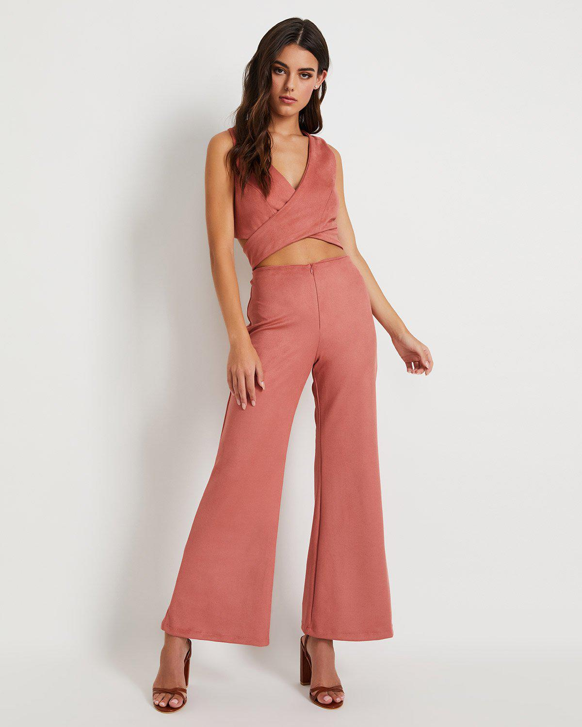 Faux Suede Flared Pant