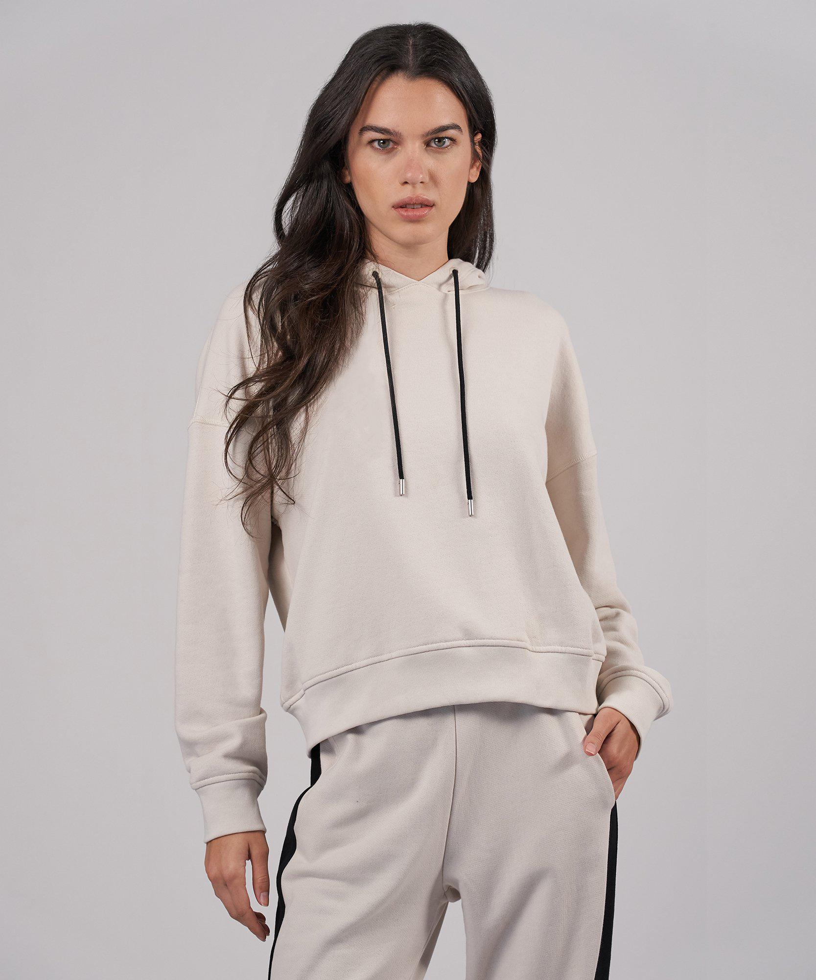 French Terry Pullover Hoodie - Tan Combo