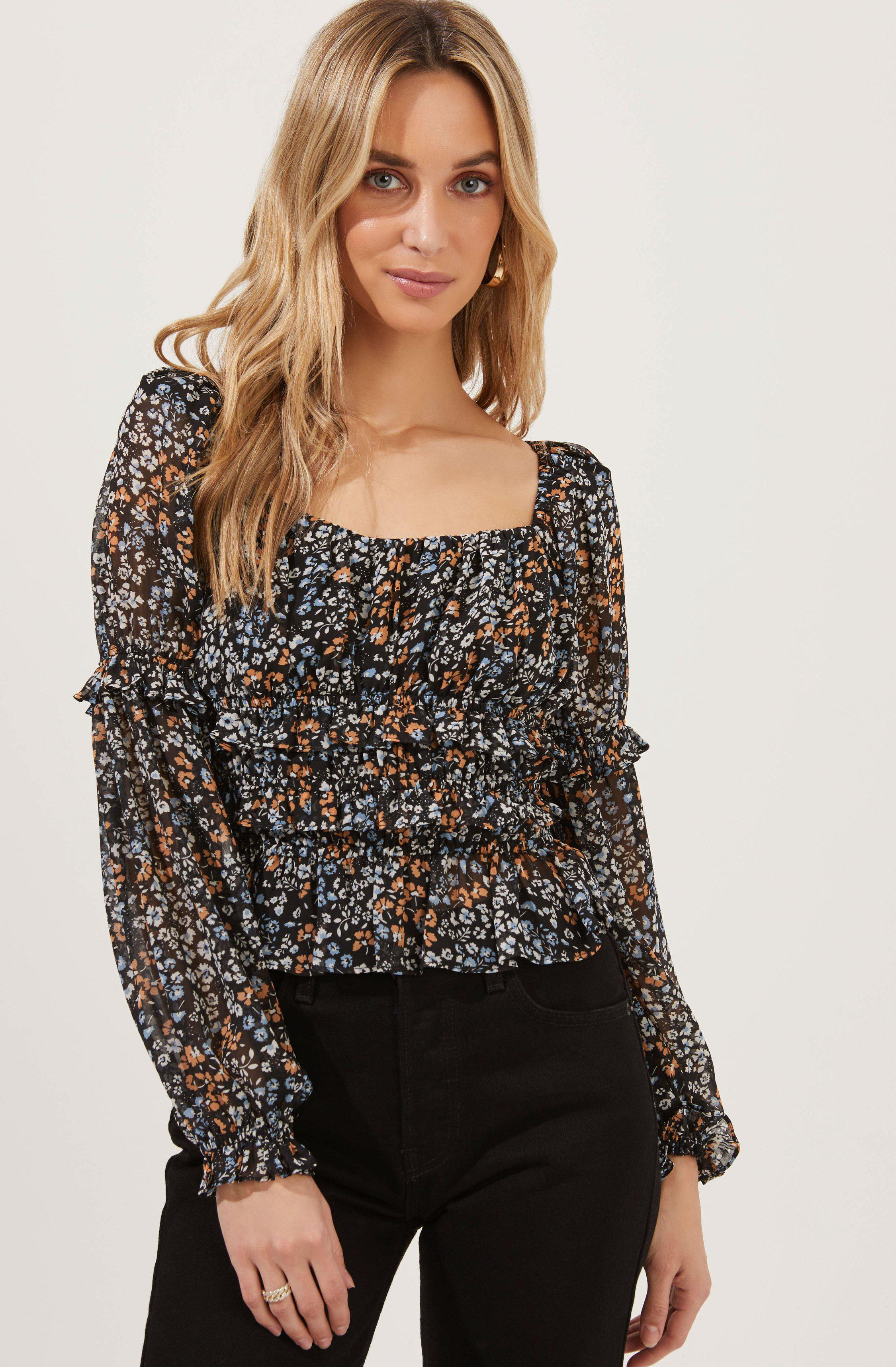Fairfield Long Sleeve Square Neck Floral Top