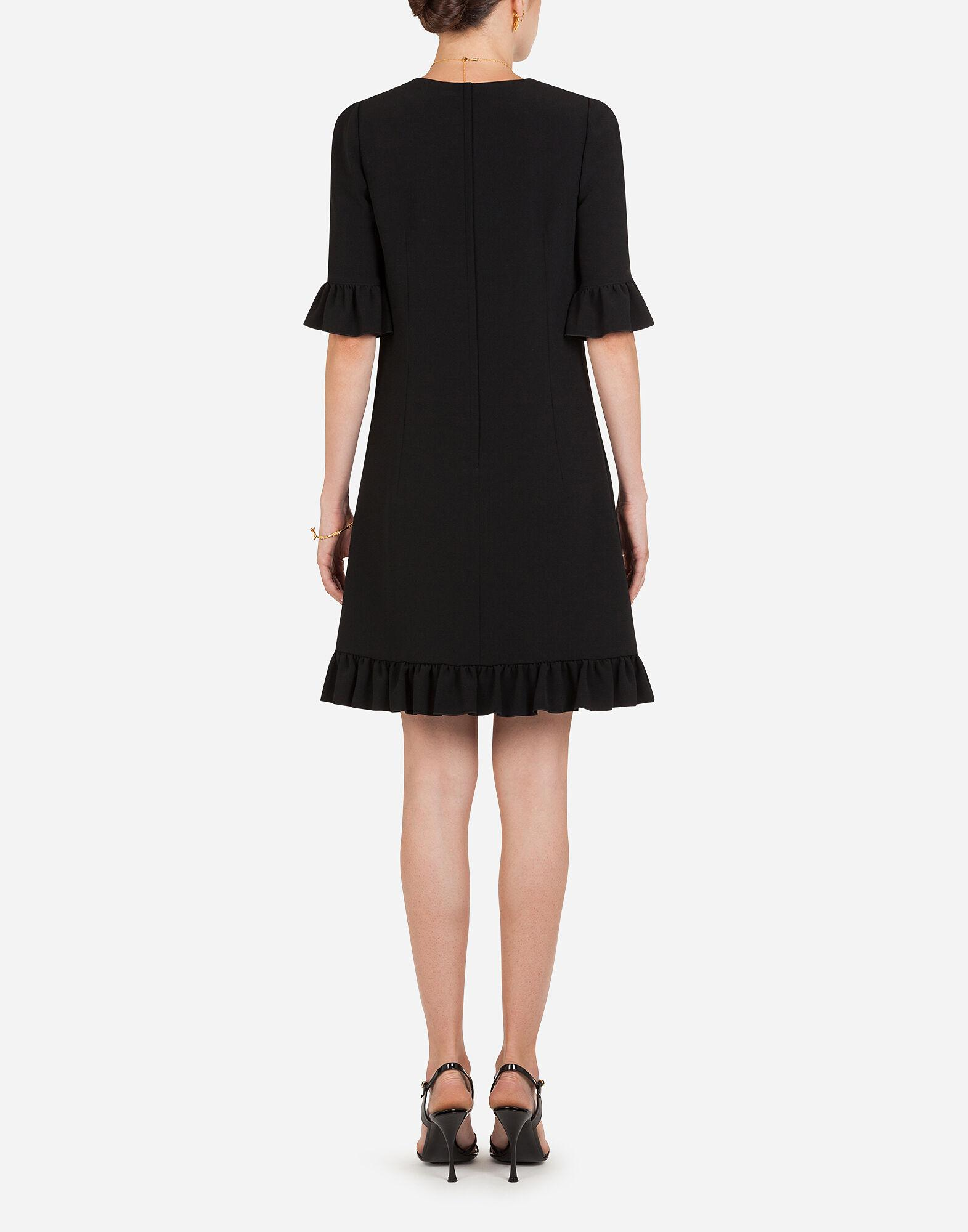Short cady dress with ruche detailing 1