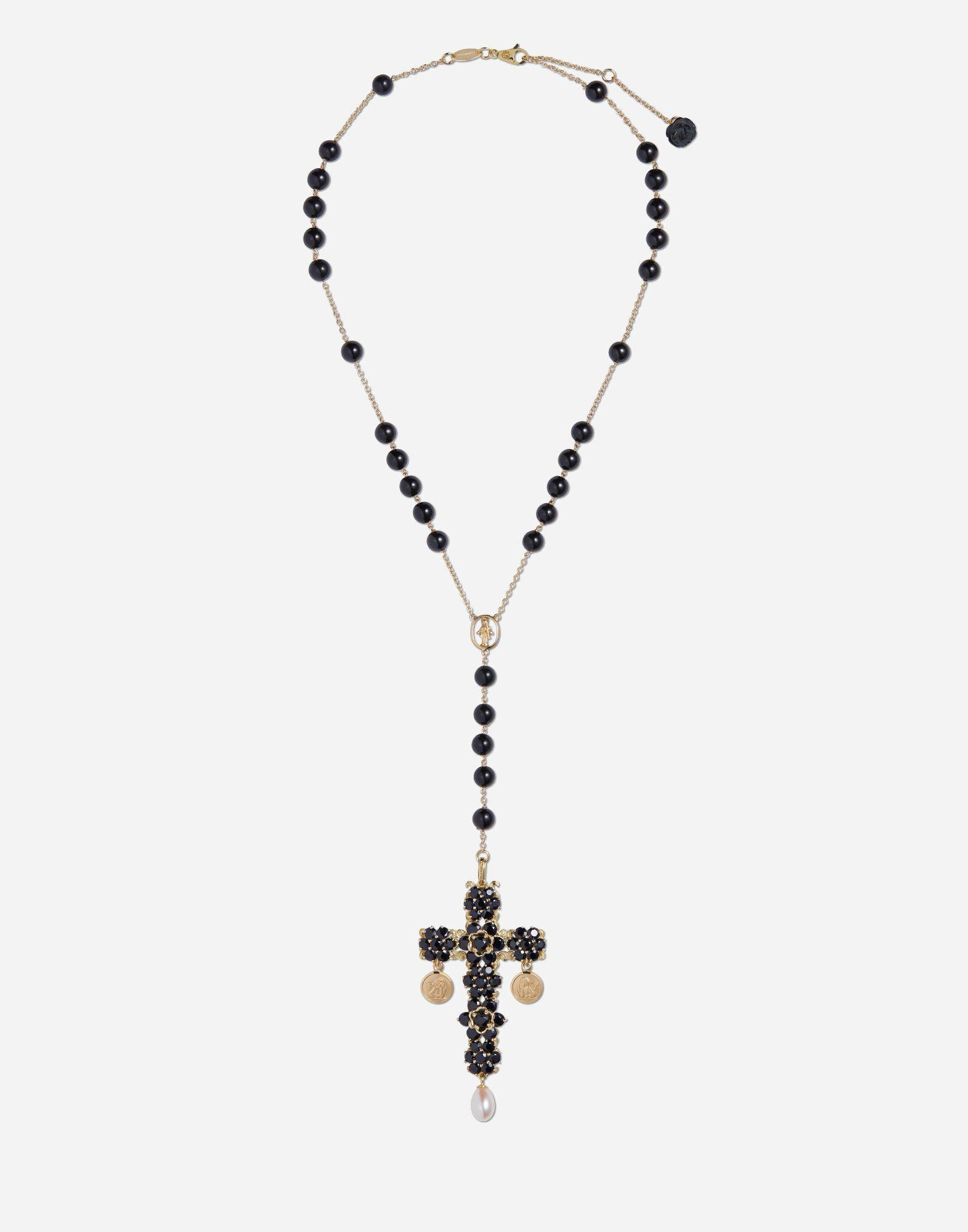Tradition rosary in yellow gold black sapphires