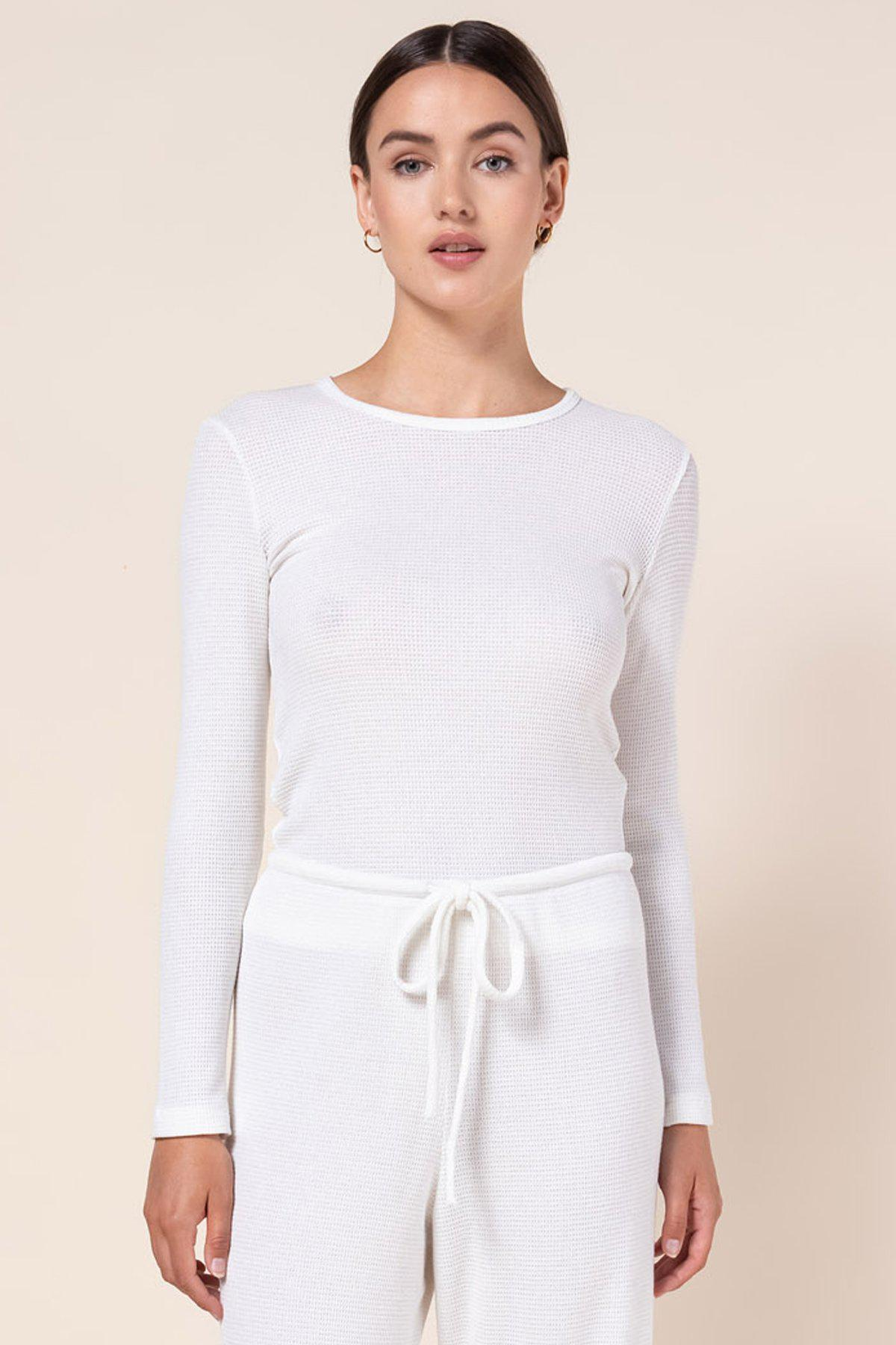 Willow Waffle Slim Fit Long Sleeve - White