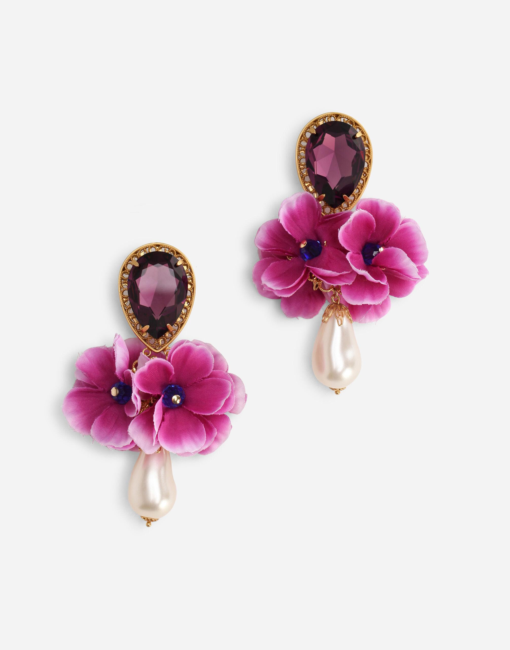 Drop earrings with rhinestone and fabric flowers