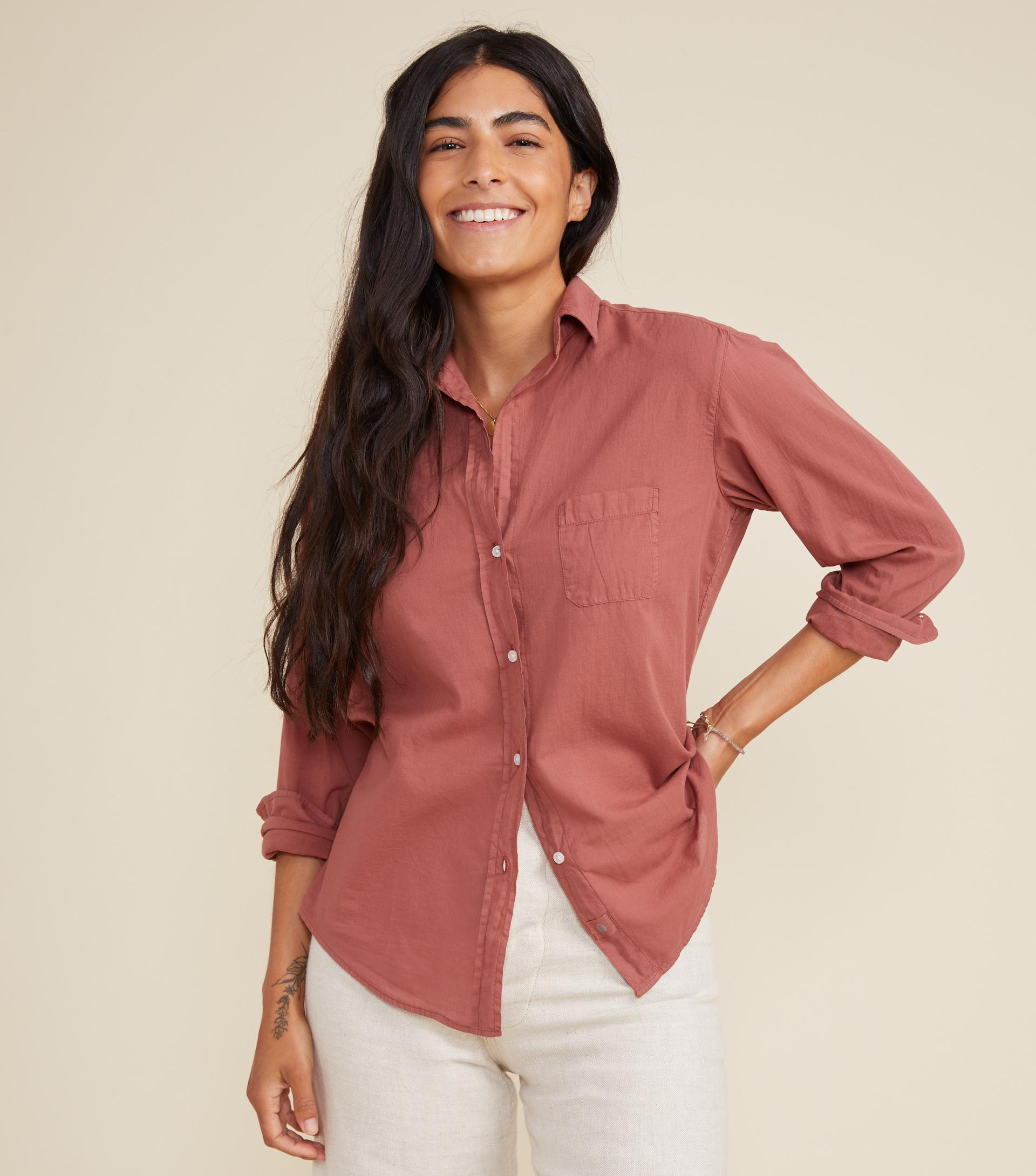 The Hero Button-Up Shirt Rosewood, Tissue Cotton
