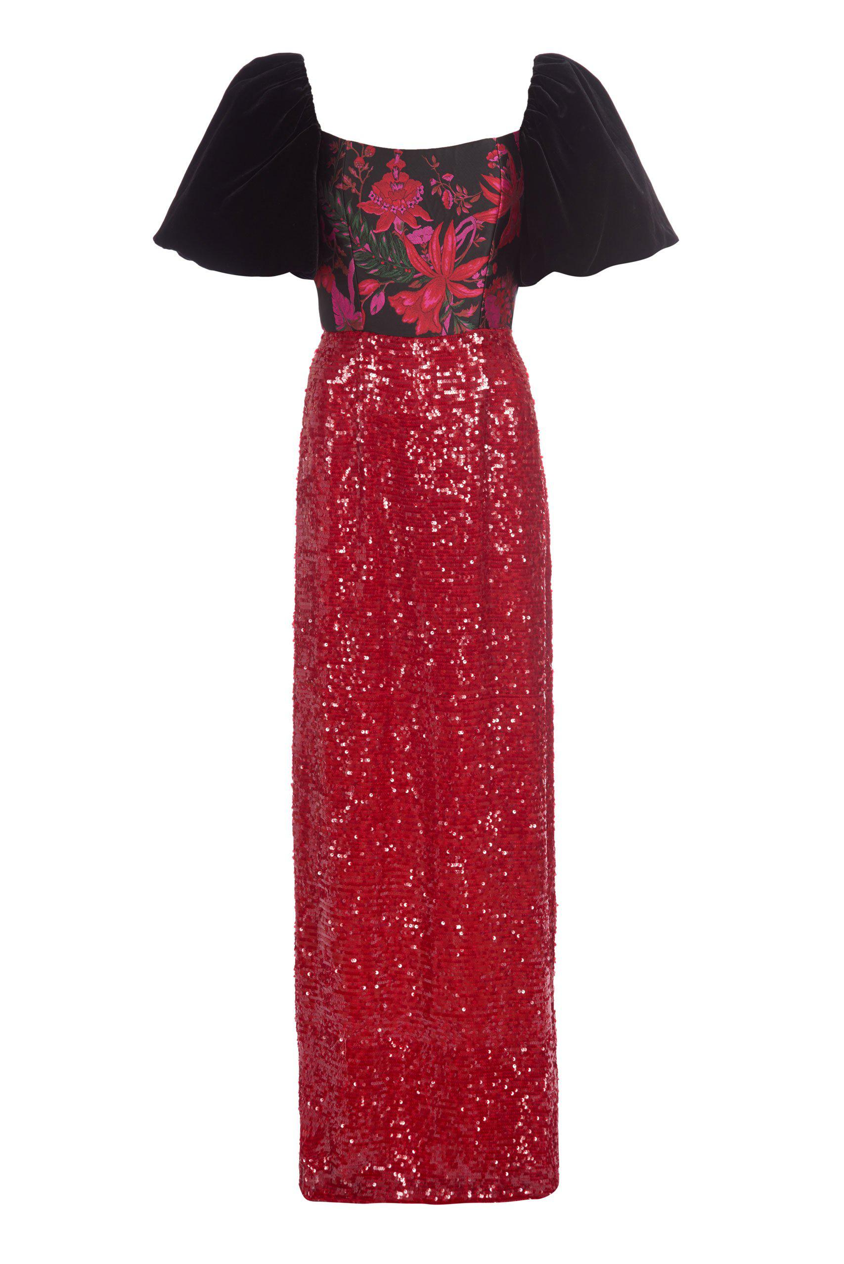 Marguerite Black Floral Brocade and Red Sequin Gown 1