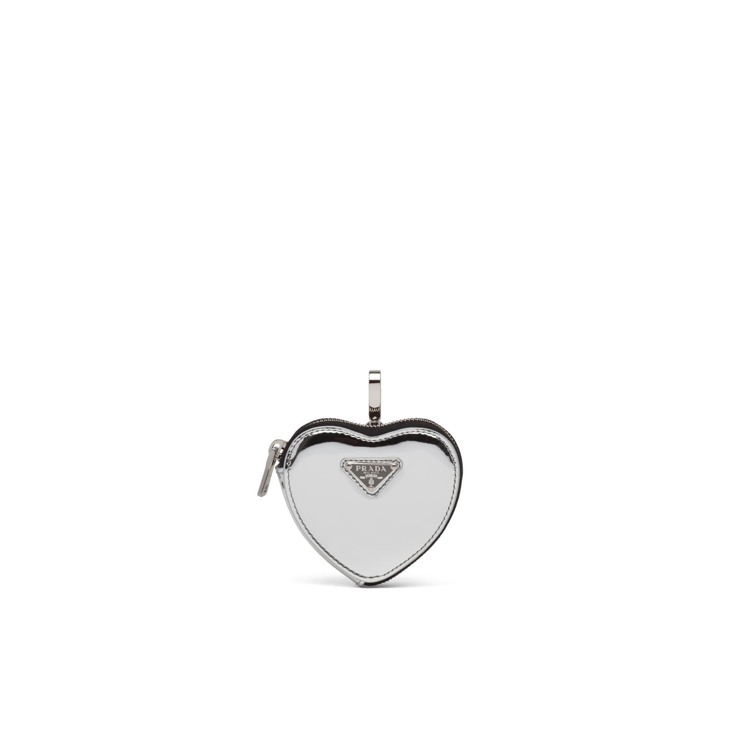 Brushed Leather Heart Mini-pouch Women Silver