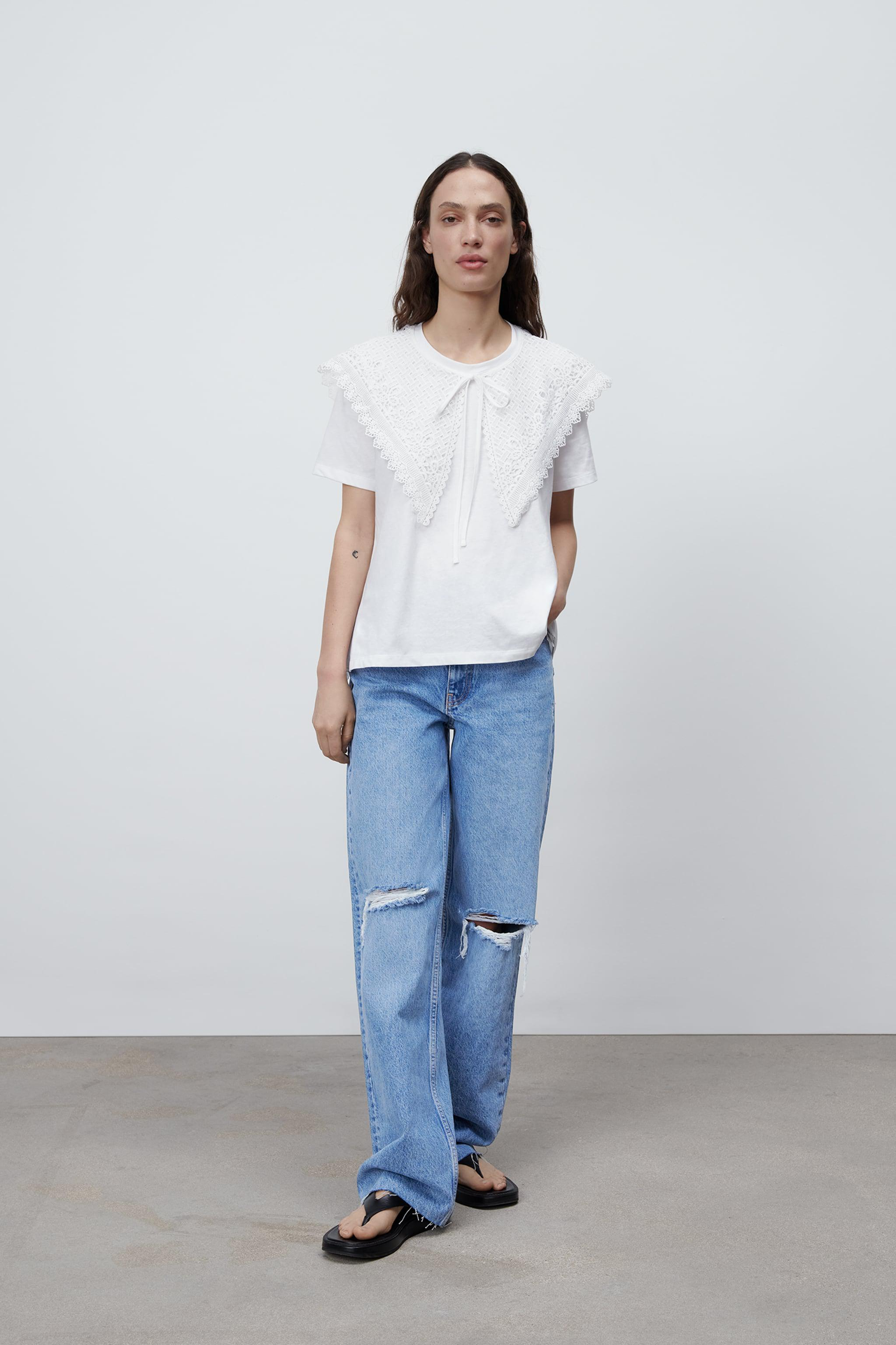 COMBINATION EMBROIDERED COLLAR TOP
