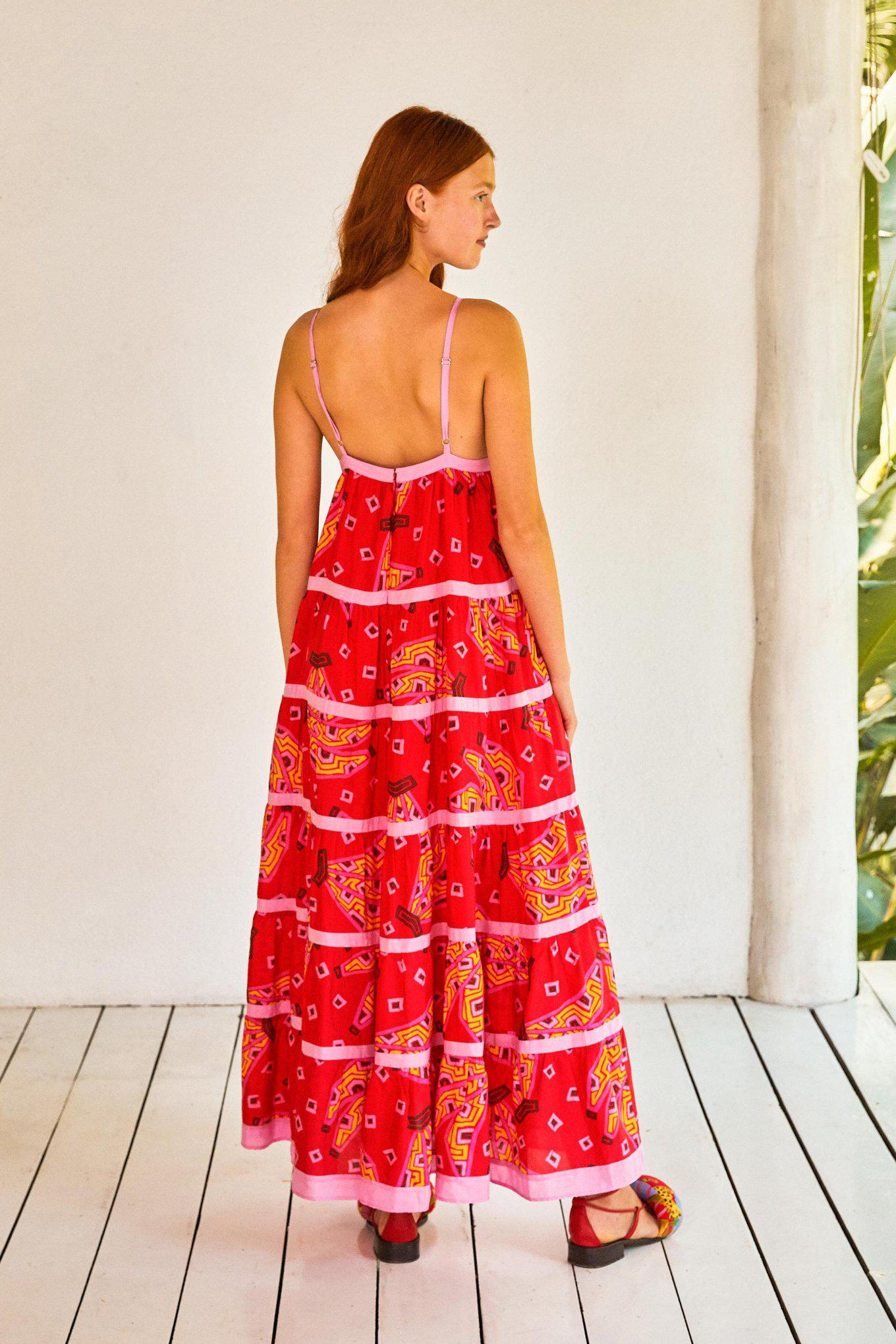 RED BANANAS MAXI TIERED DRESS 1