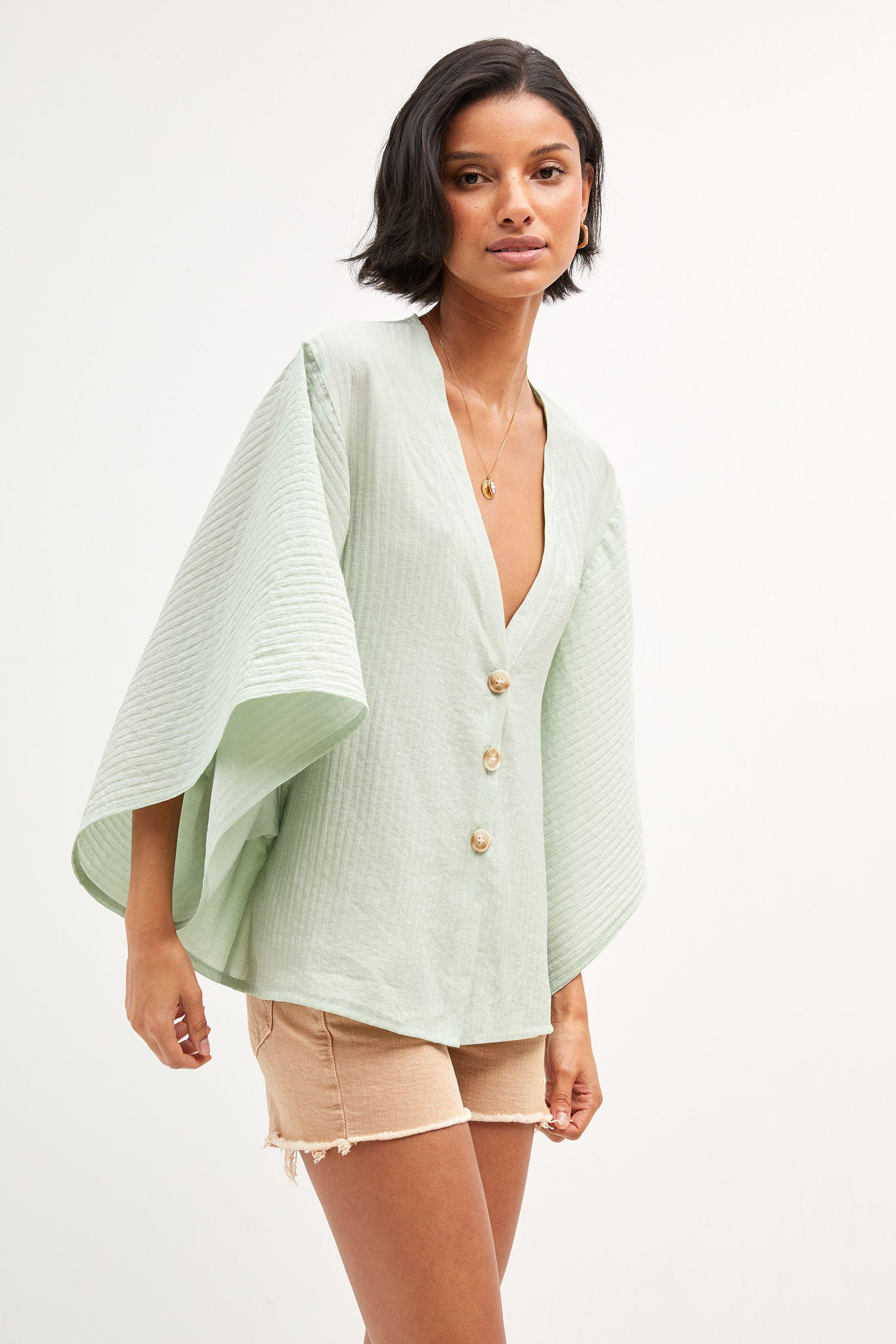 Airy Button-Front Poncho 2