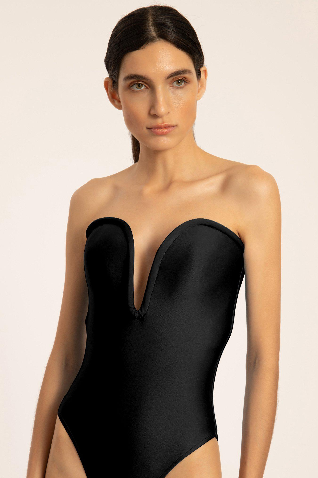 Solid Deep V Swimsuit 1