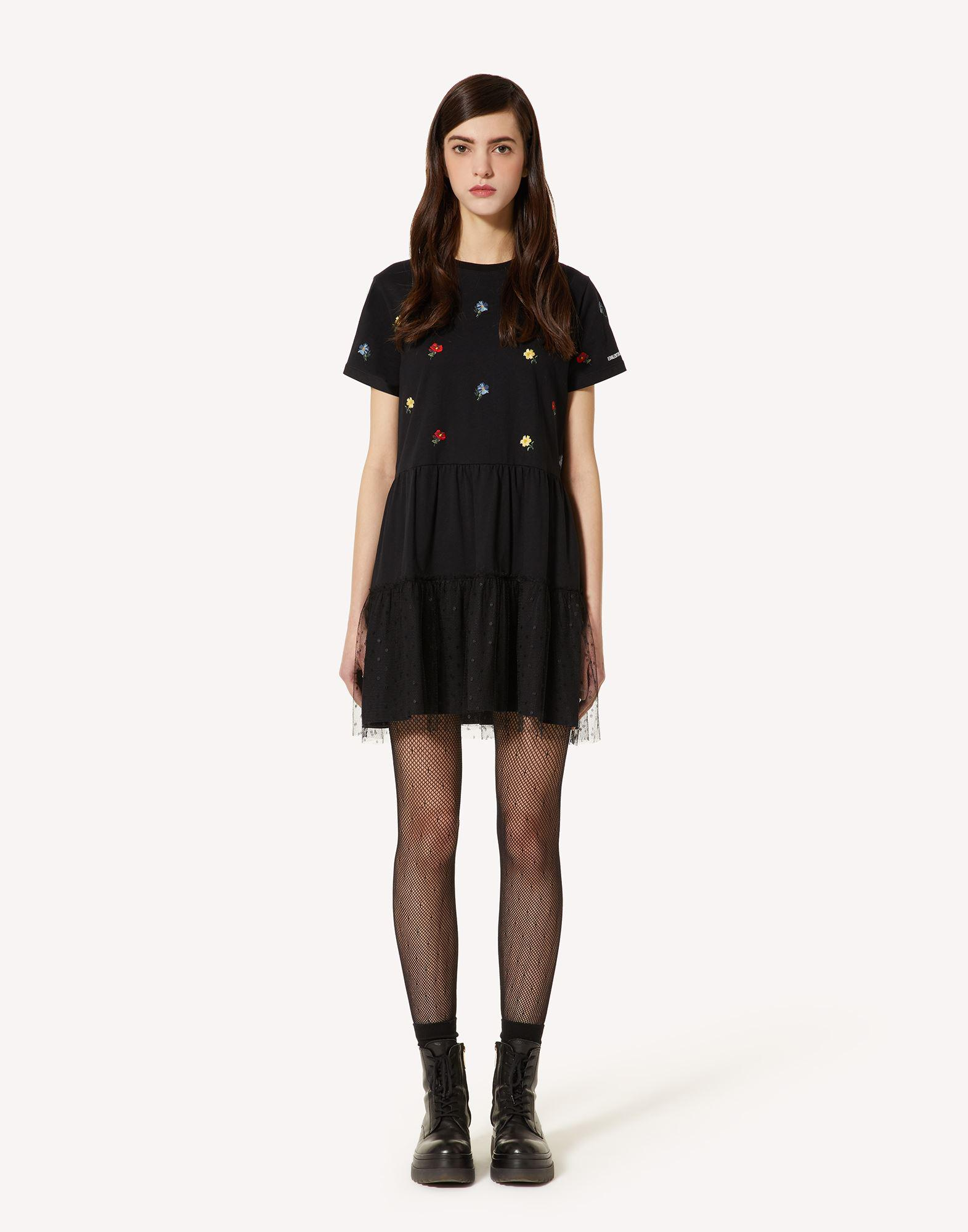 T-SHIRT DRESS WITH DELICATE FLOWERS EMBROIDERY