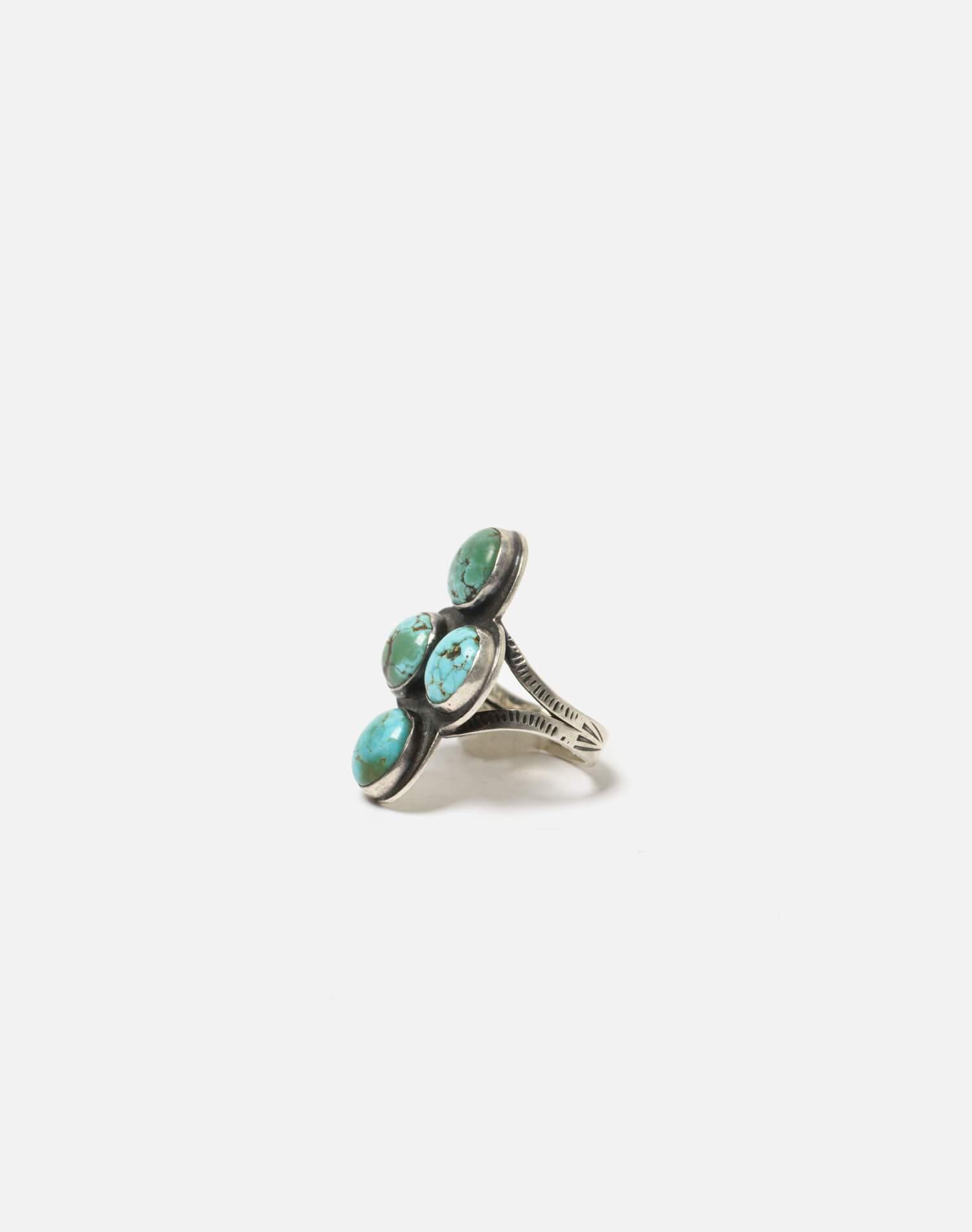 1930s Navajo Spilt Shank Sterling And Turquoise Stone Ring - #94 1