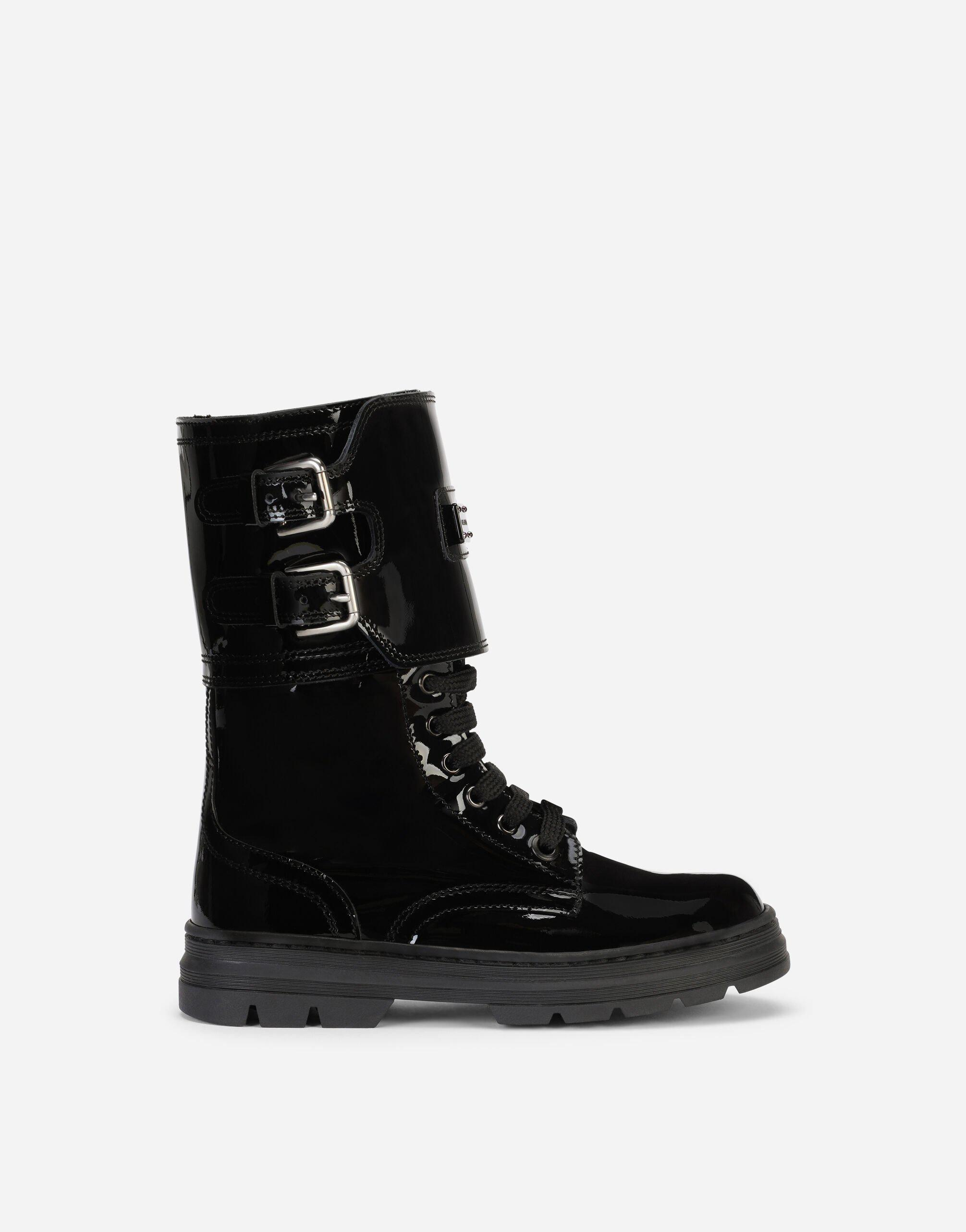 Patent leather combat boots with logo plate