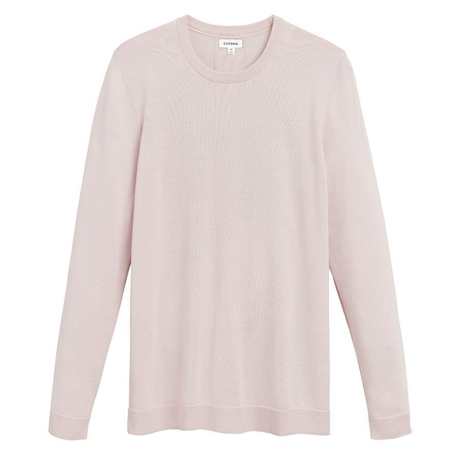 Women's Classic Cotton Cashmere Crewneck Sweater in Blush Pink | Size: