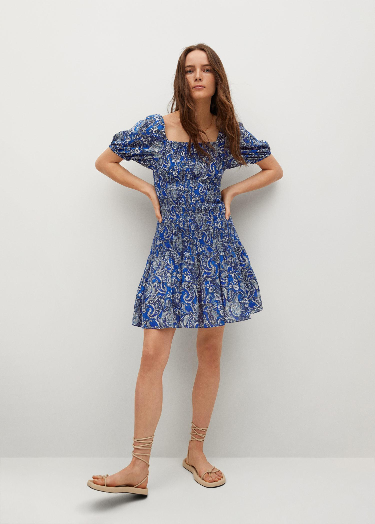 Printed ruched dress 1