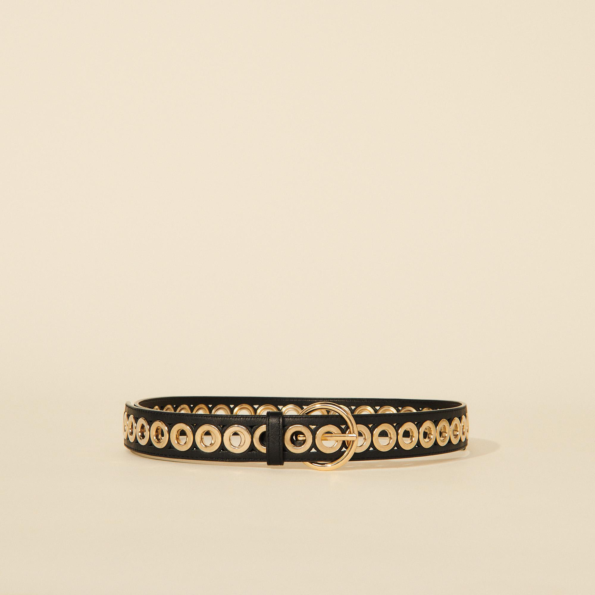 Belt with round buckle and eyelets