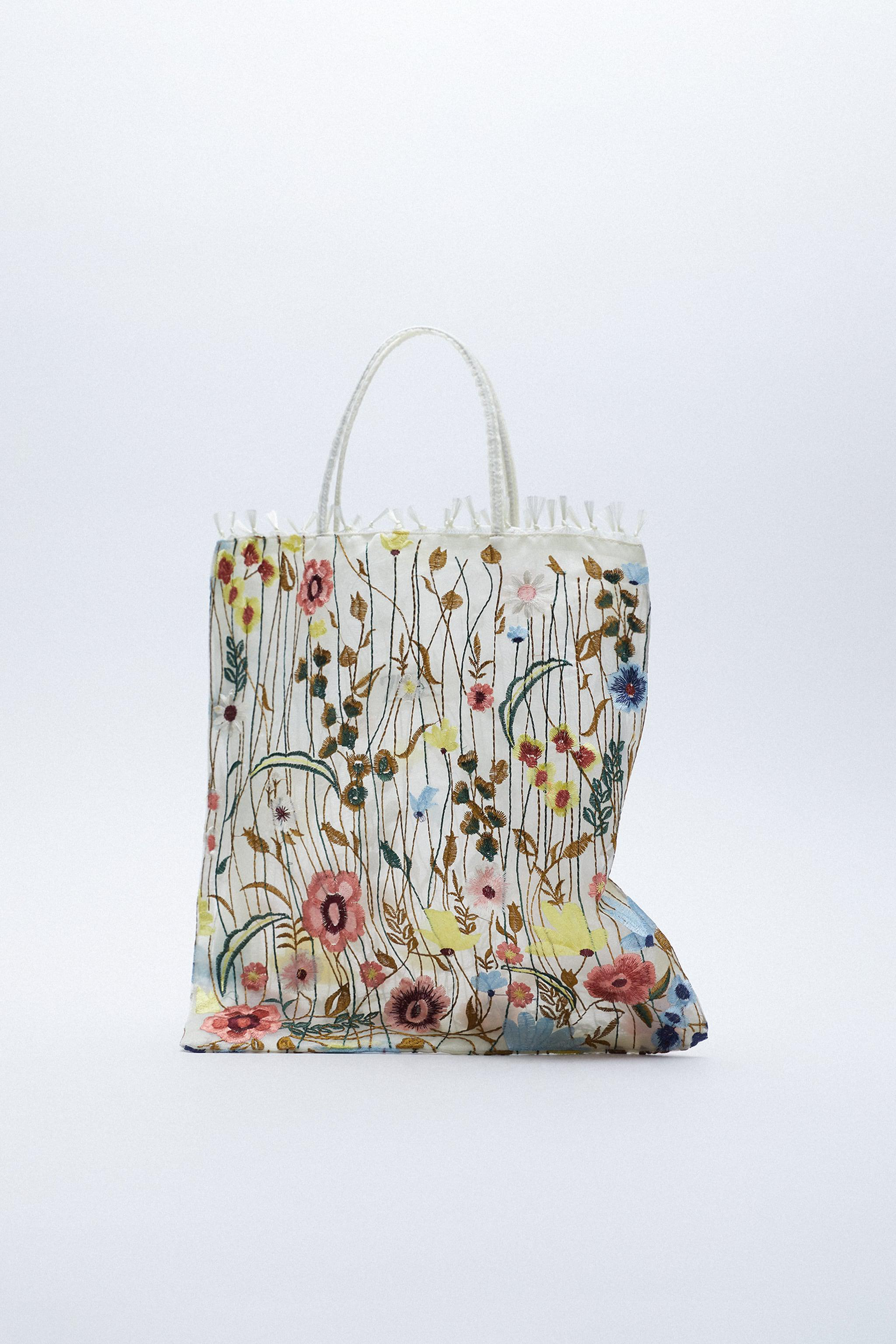 TULLE FLORAL EMBROIDERY TOTE BAG 1
