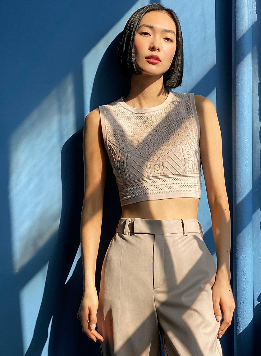 Pointelle Cropped Tank 0